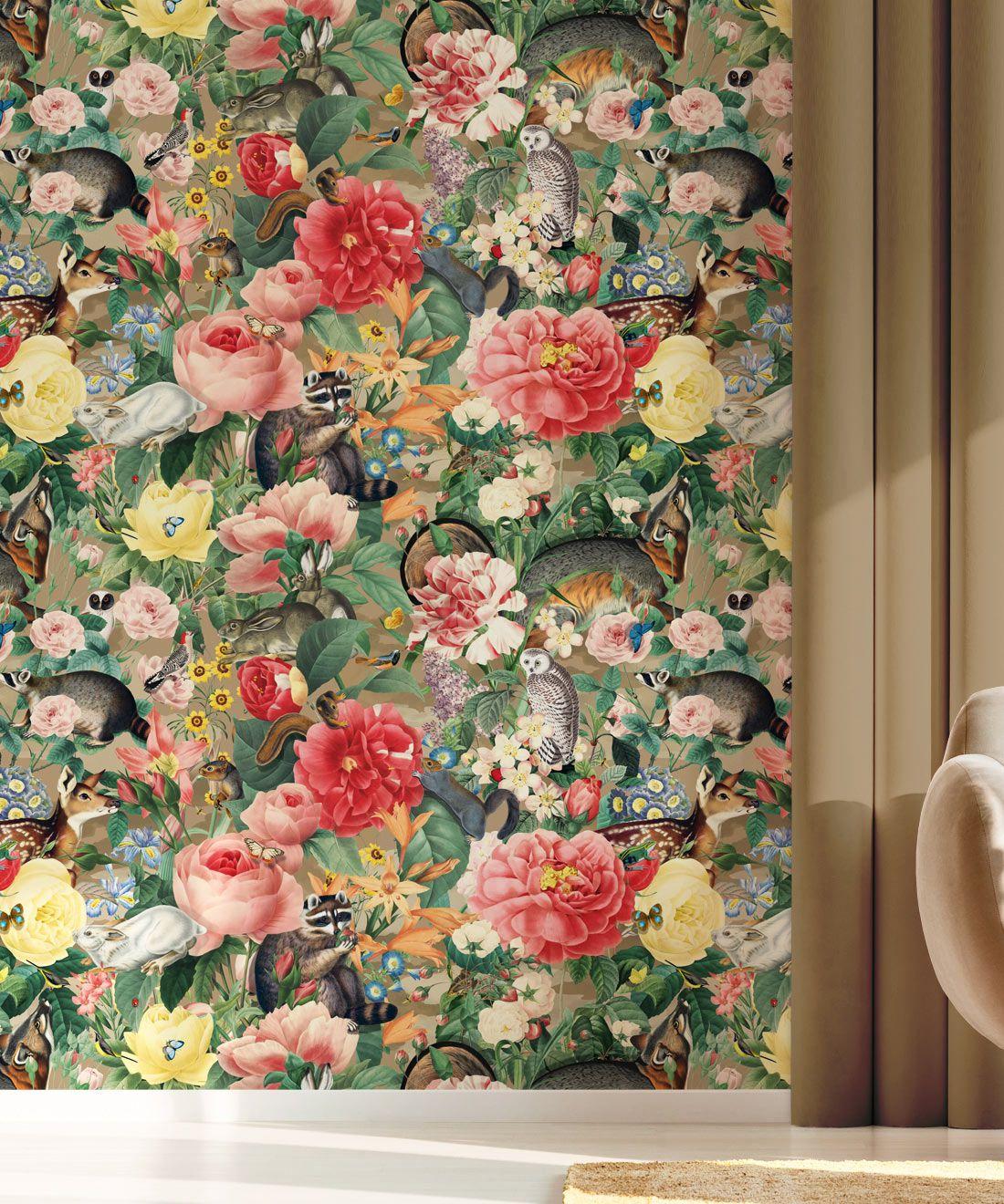 Bush Bouquet Spring Wallpaper • Brown Oak Colored Wallpaper • Assorted Color and Multi-color wallpaper • Floral Wallpaper • Wallpaper With Forest Animals • Insitu