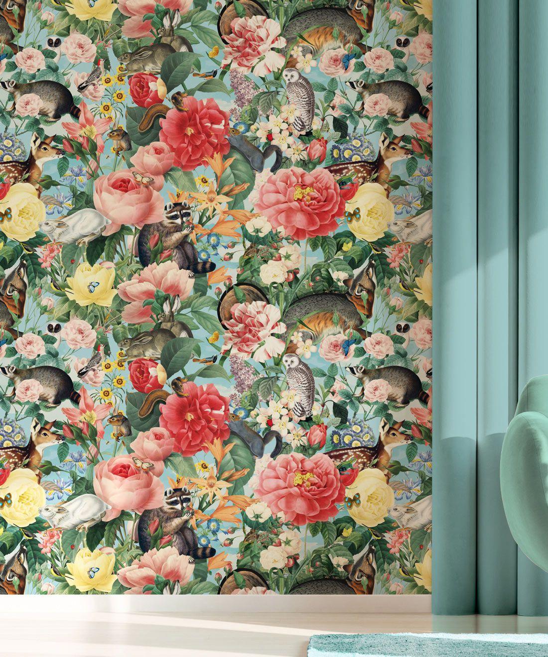 Bush Bouquet Spring Wallpaper • Blue Sky Colored Wallpaper • Assorted Color and Multi-color wallpaper • Floral Wallpaper • Wallpaper With Forest Animals • Insitu