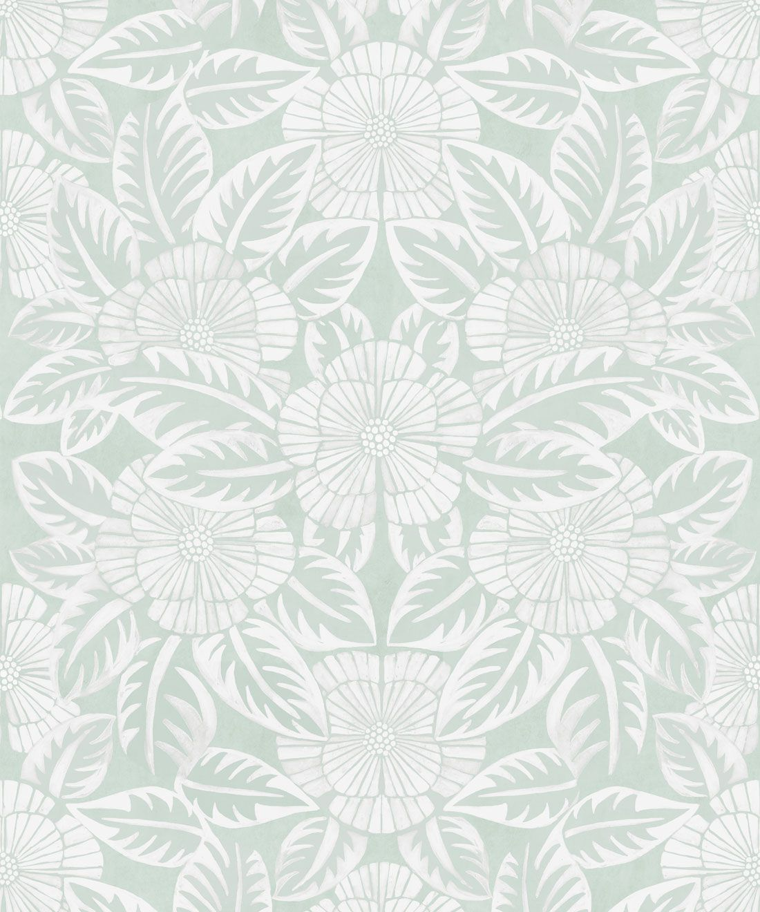 Calcutta Wallpaper • Flower and Leaf Motif Design • Ethnic Wallpaper • Aqua Wallpaper • Swatch