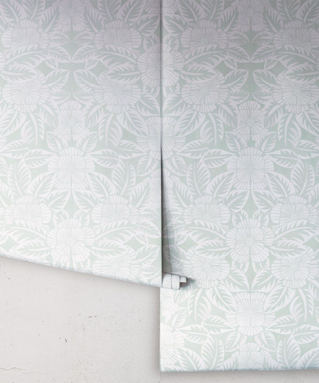 Calcutta Wallpaper • Flower and Leaf Motif Design • Ethnic Wallpaper • Aqua Wallpaper • Rolls