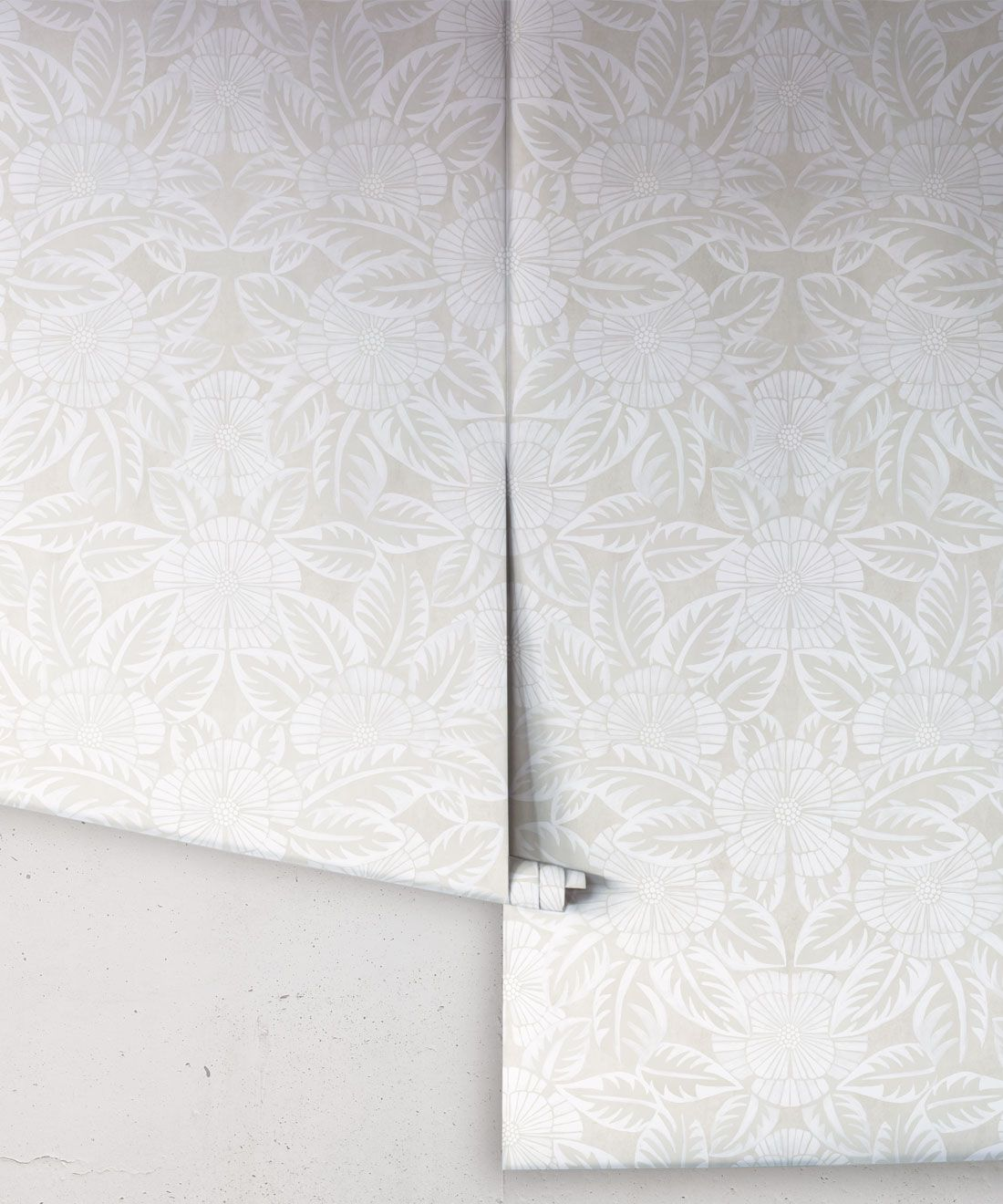 Calcutta Wallpaper • Flower and Leaf Motif Design • Ethnic Wallpaper • Beige Wallpaper • Rolls