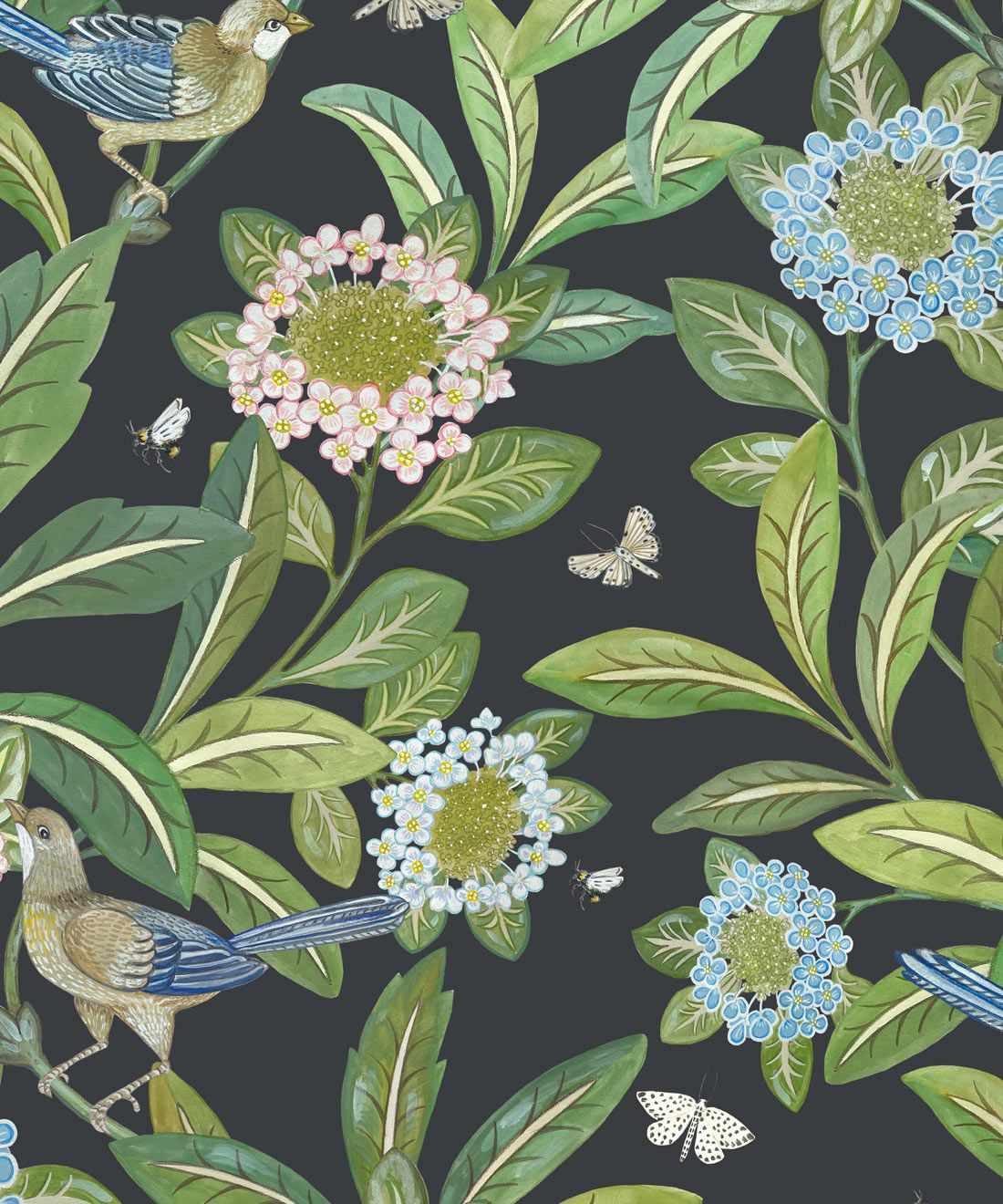 Summer Garden Wallpaper • Charcoal Wallpaper • Floral Wallpaper Swatch