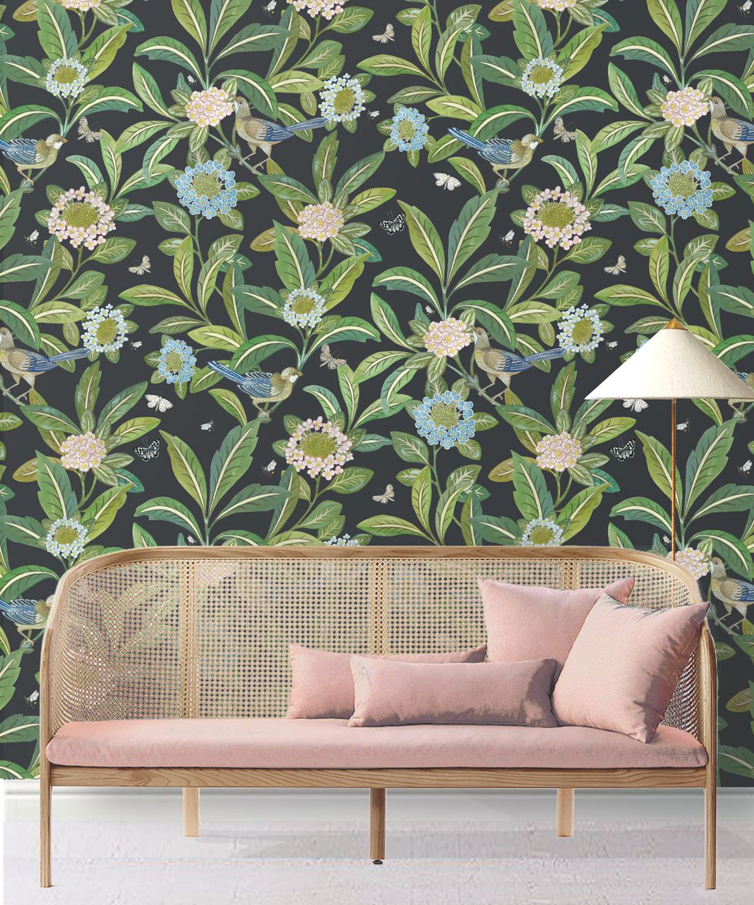 Summer Garden Wallpaper • Charcoal Wallpaper • Floral Wallpaper Insitu with pink sofa