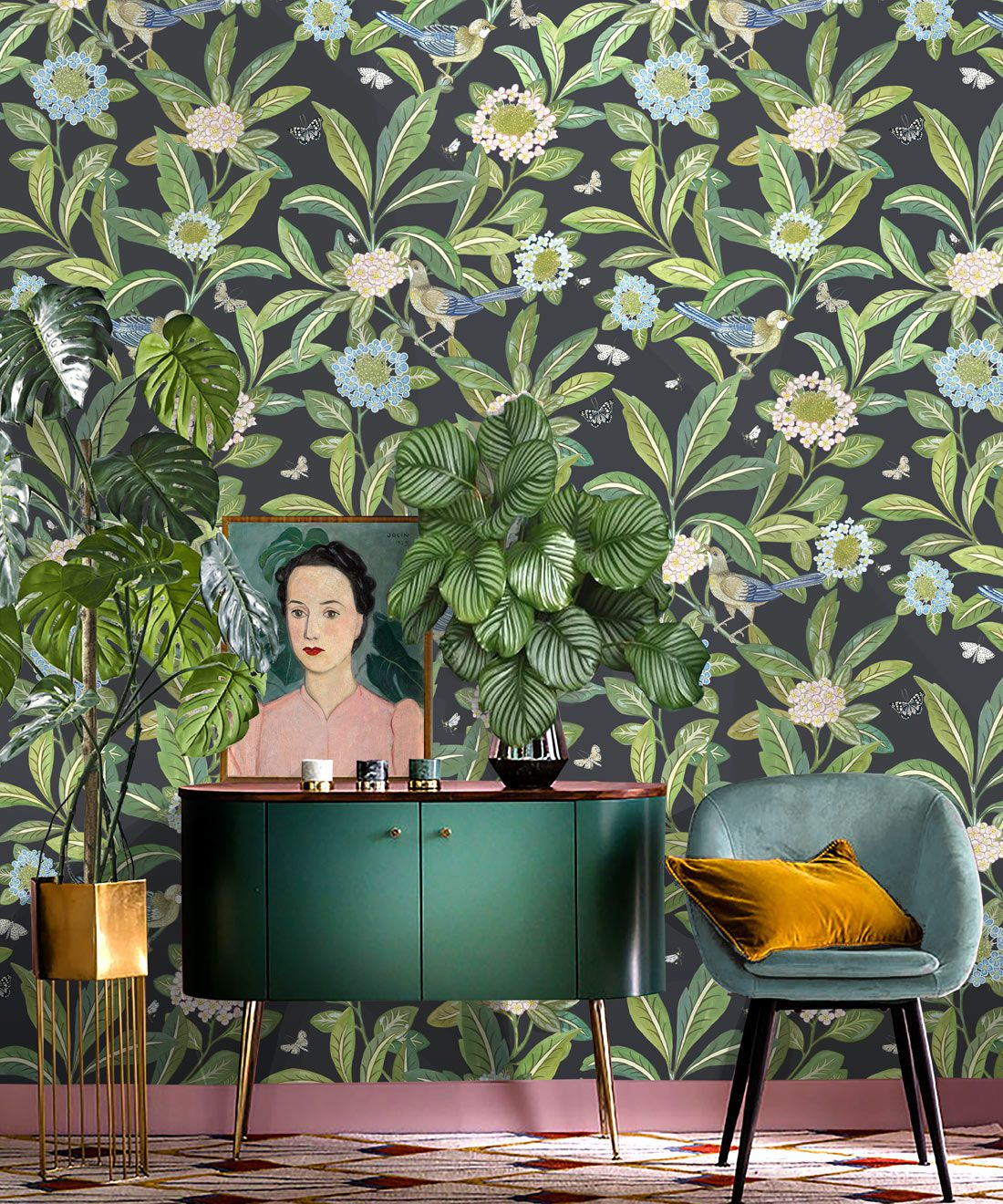 Summer Garden Wallpaper • Charcoal Wallpaper • Floral Wallpaper Insitu with green cabinet and blue chair