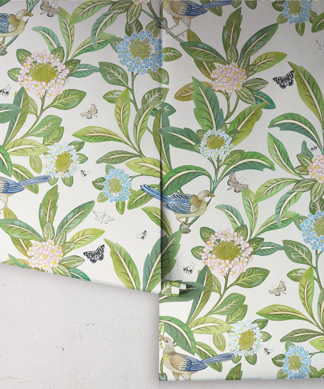 Summer Garden Wallpaper • Ivory Wallpaper • Floral Wallpaper Rolls