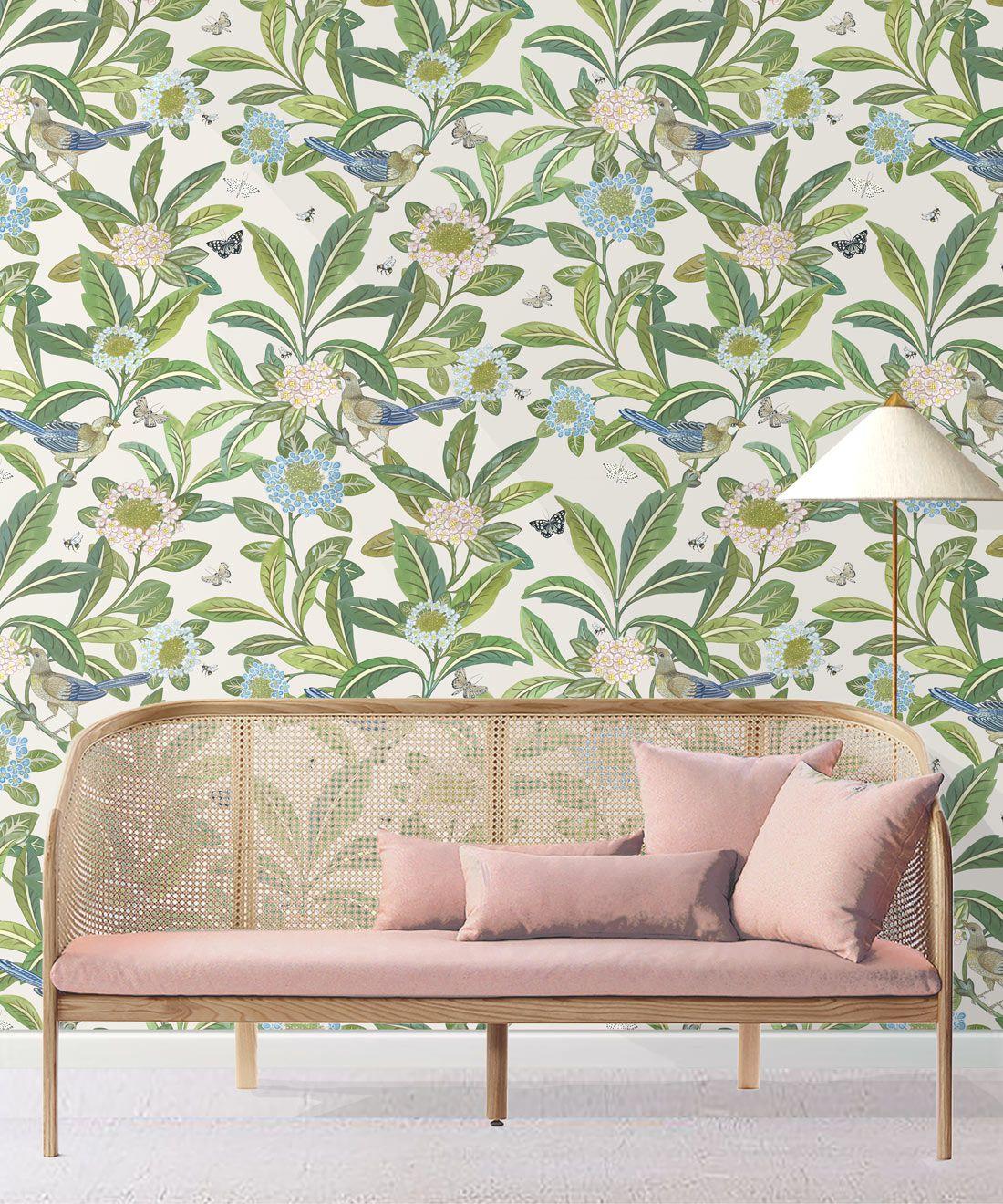 Summer Garden Wallpaper • Ivory Wallpaper • Floral Wallpaper Insitu