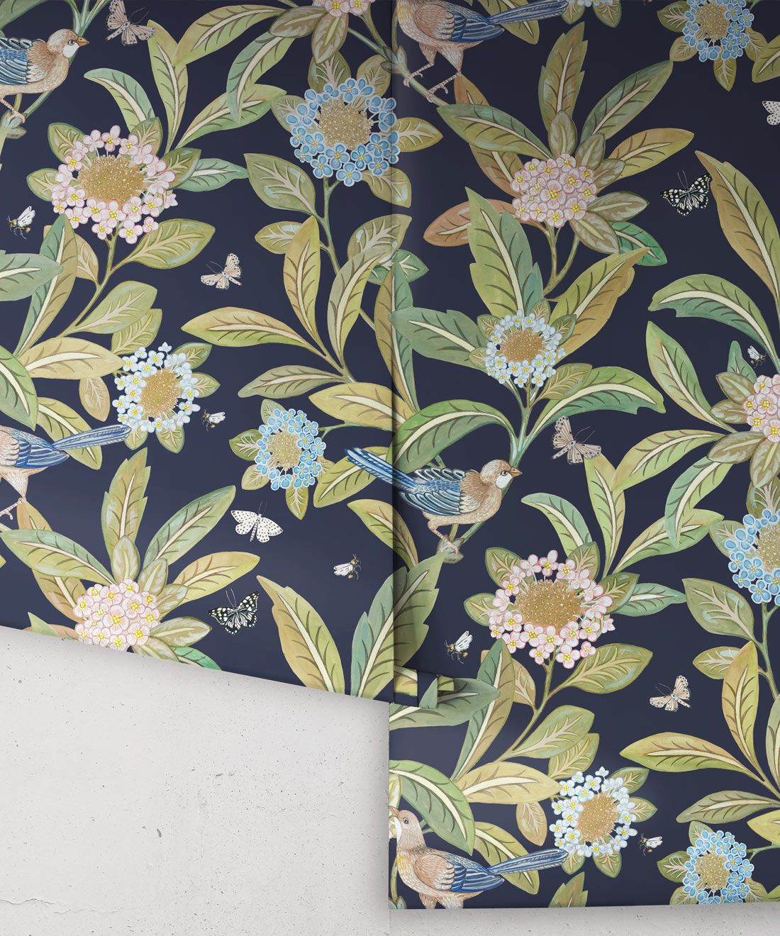 Summer Garden Wallpaper • Navy Wallpaper • Floral Wallpaper Rolls