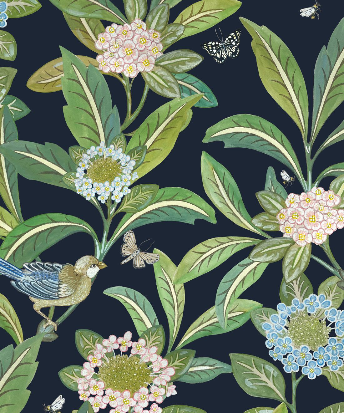 Summer Garden Wallpaper • Original Wallpaper • Floral Wallpaper Swatch