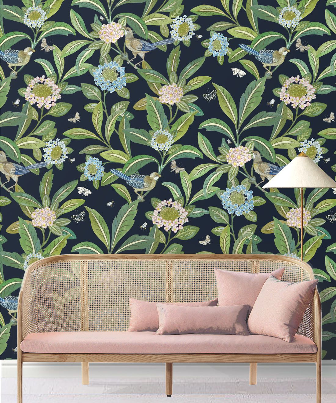 Summer Garden Wallpaper • Original Wallpaper • Floral Wallpaper Insitu behind pink couch