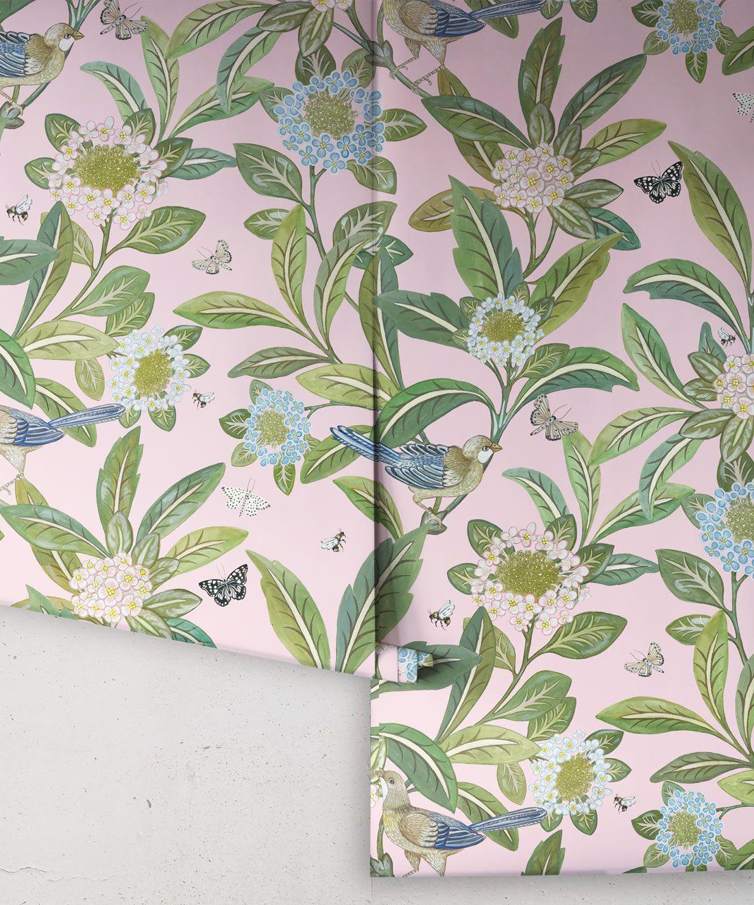 Summer Garden Wallpaper • Pink Wallpaper • Floral Wallpaper Roll