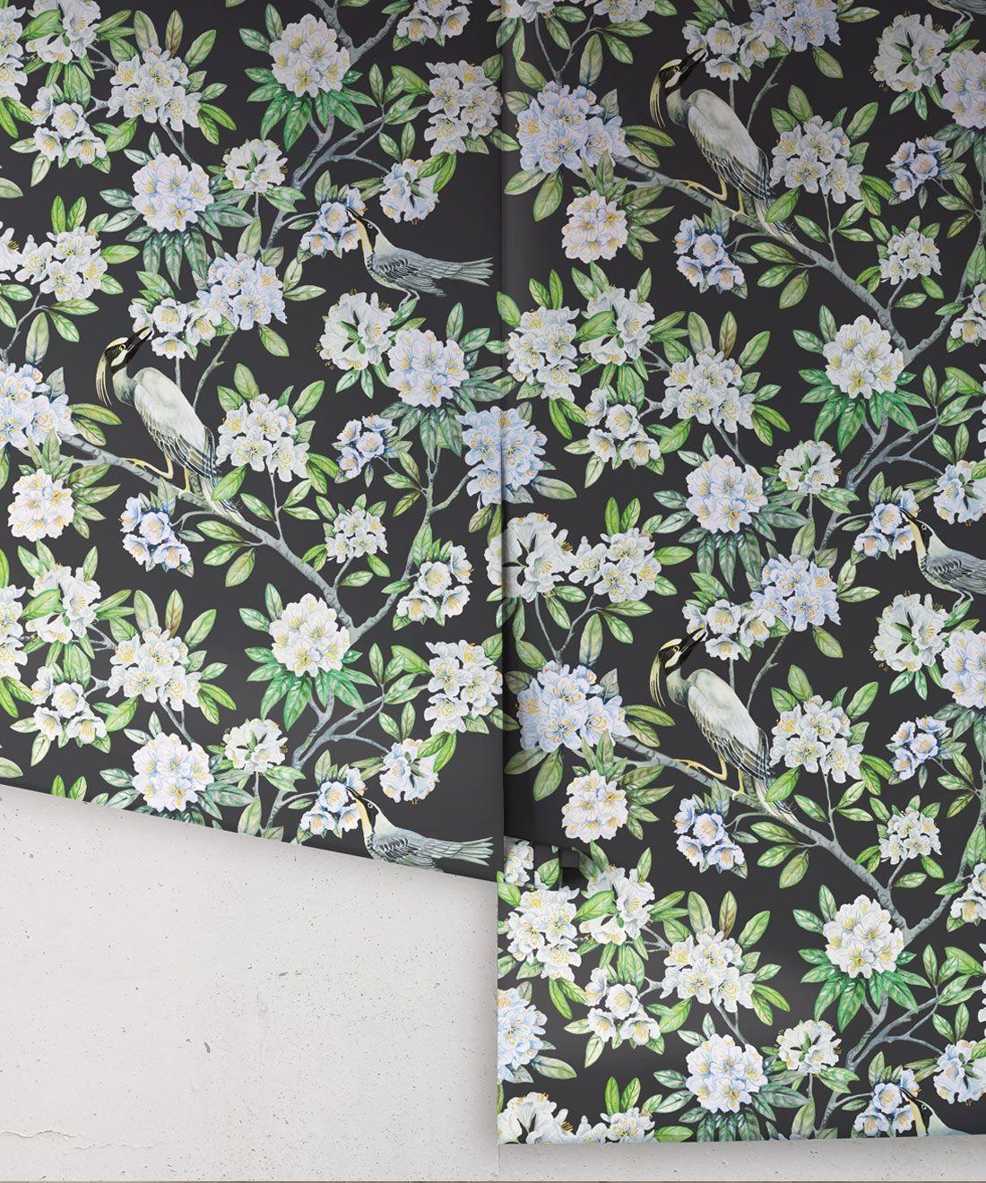 Victoria Wallpaper • Floral Wallpaper • Charcoal Wallpaper • Rolls