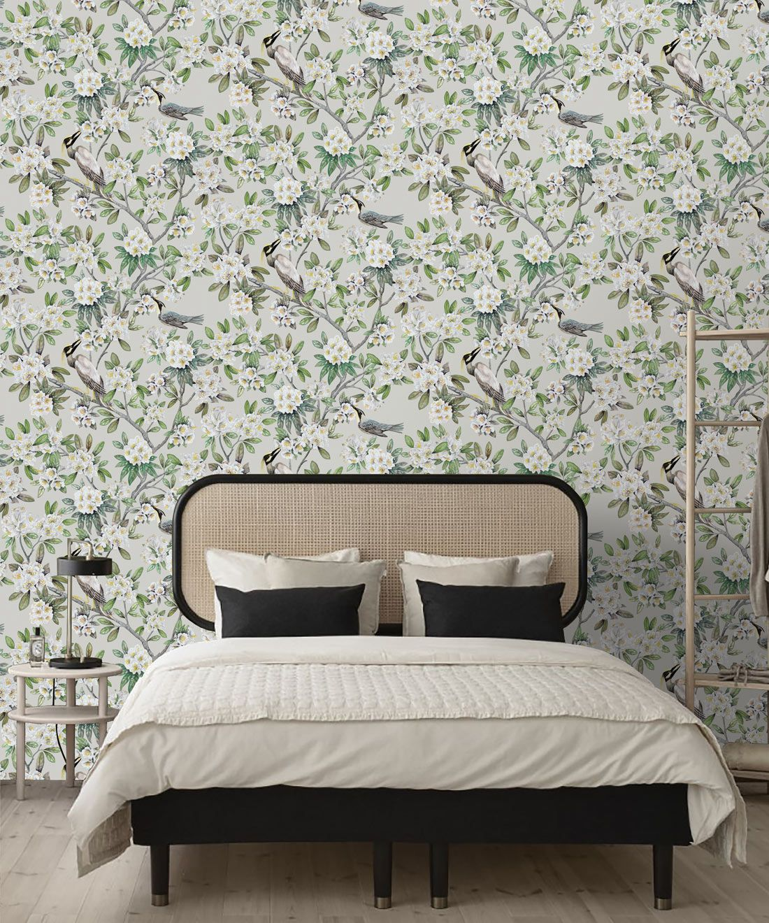 Victoria Wallpaper • Floral Wallpaper • Ivory Wallpaper • Insitu