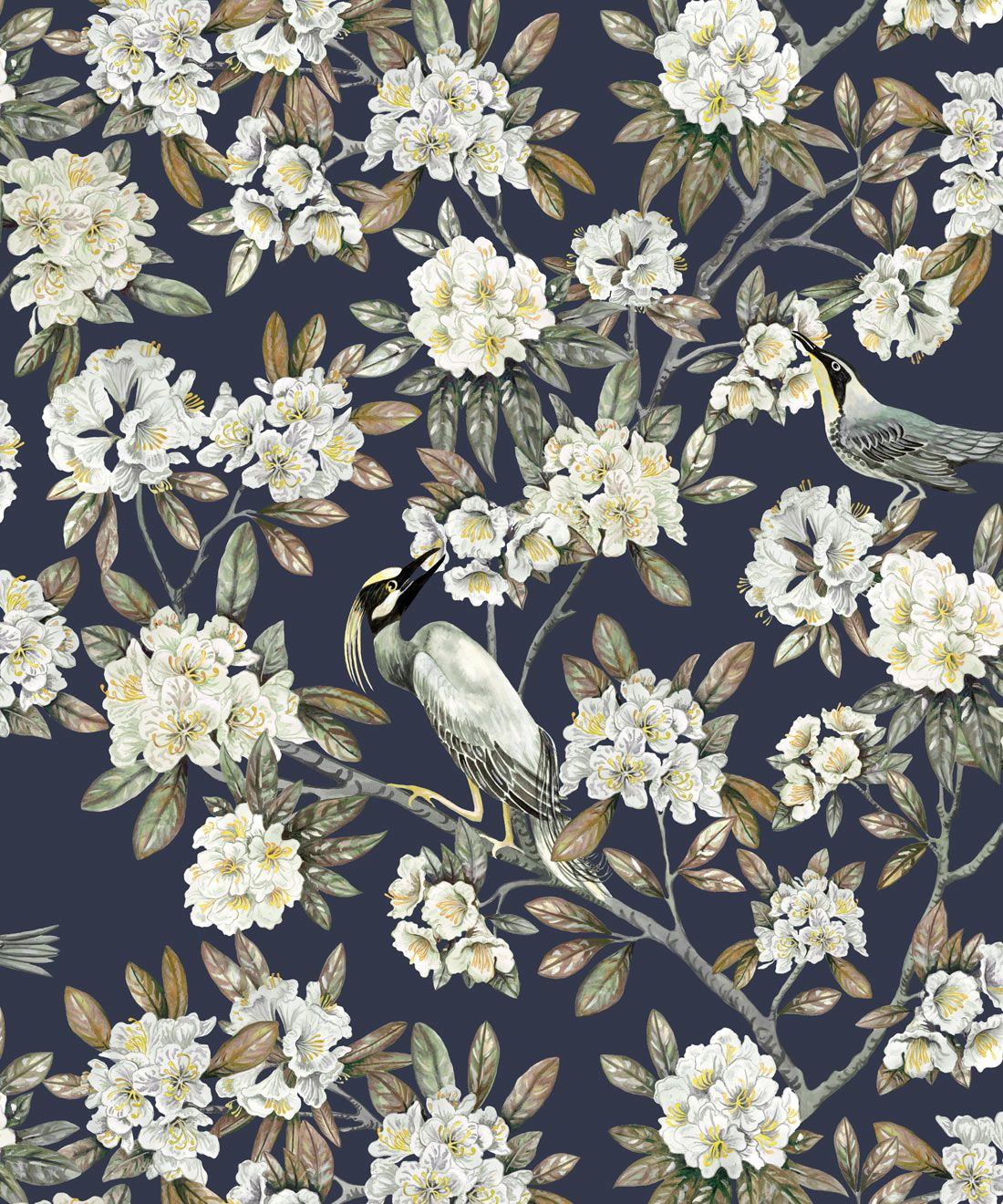 Victoria Wallpaper • Floral Wallpaper • Navy Wallpaper • Swatch
