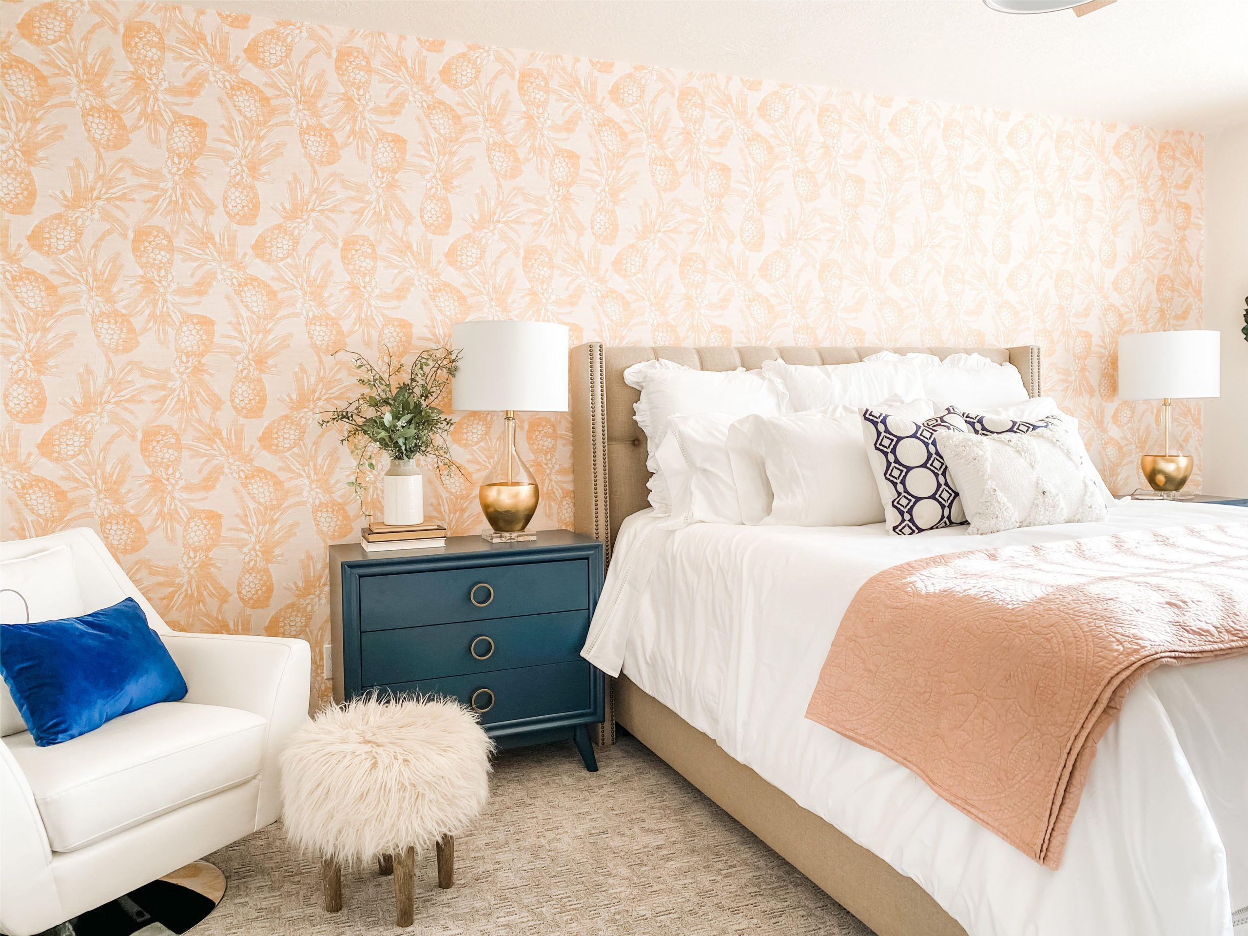 Calypso Wallpaper • Golden Yellow Pineapple Wallpaper • Cheerful Bedroom • @OurFigTreeCottage