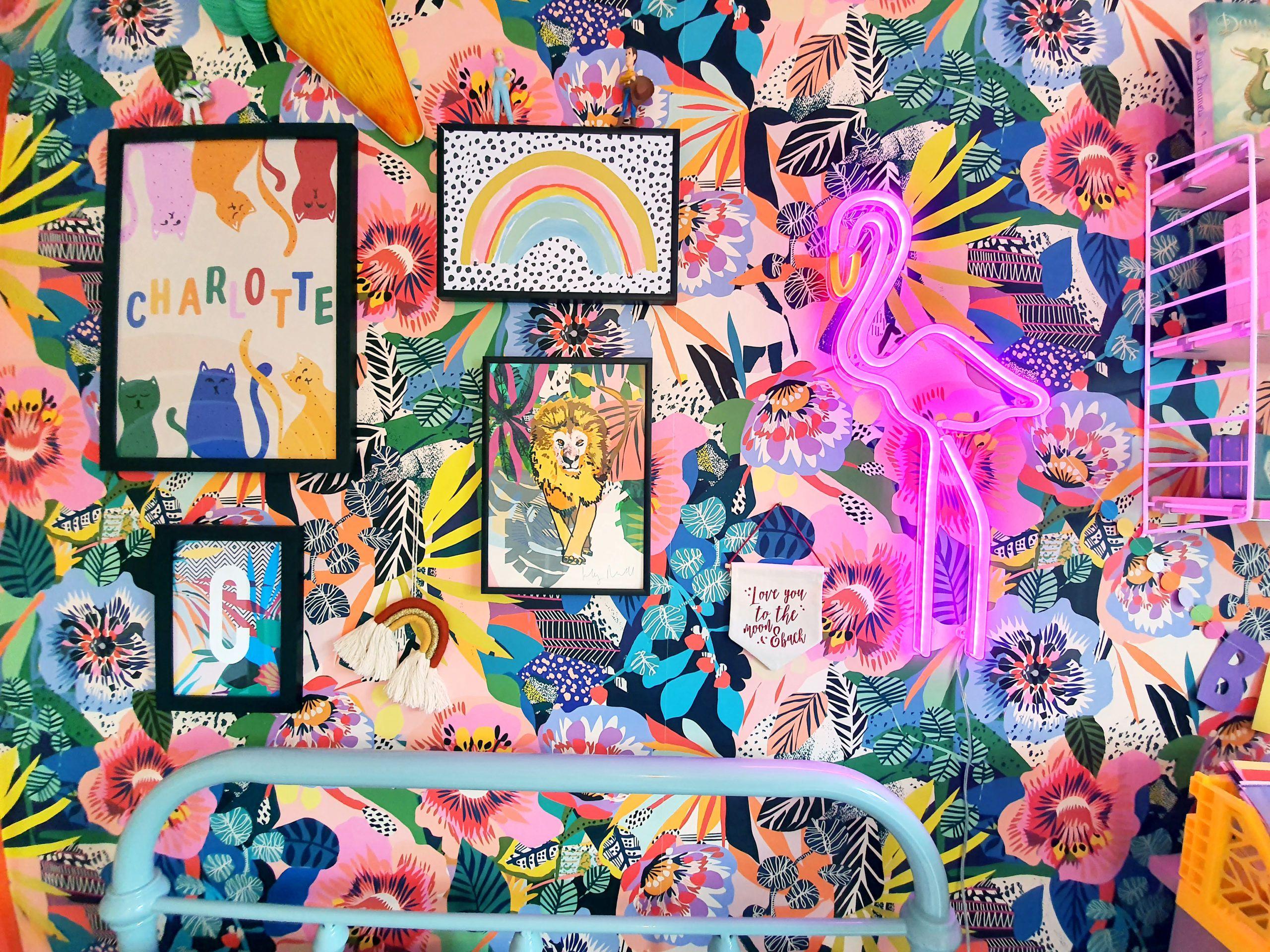 Summer Garden Wallpaper in Little Girls Room Makeover