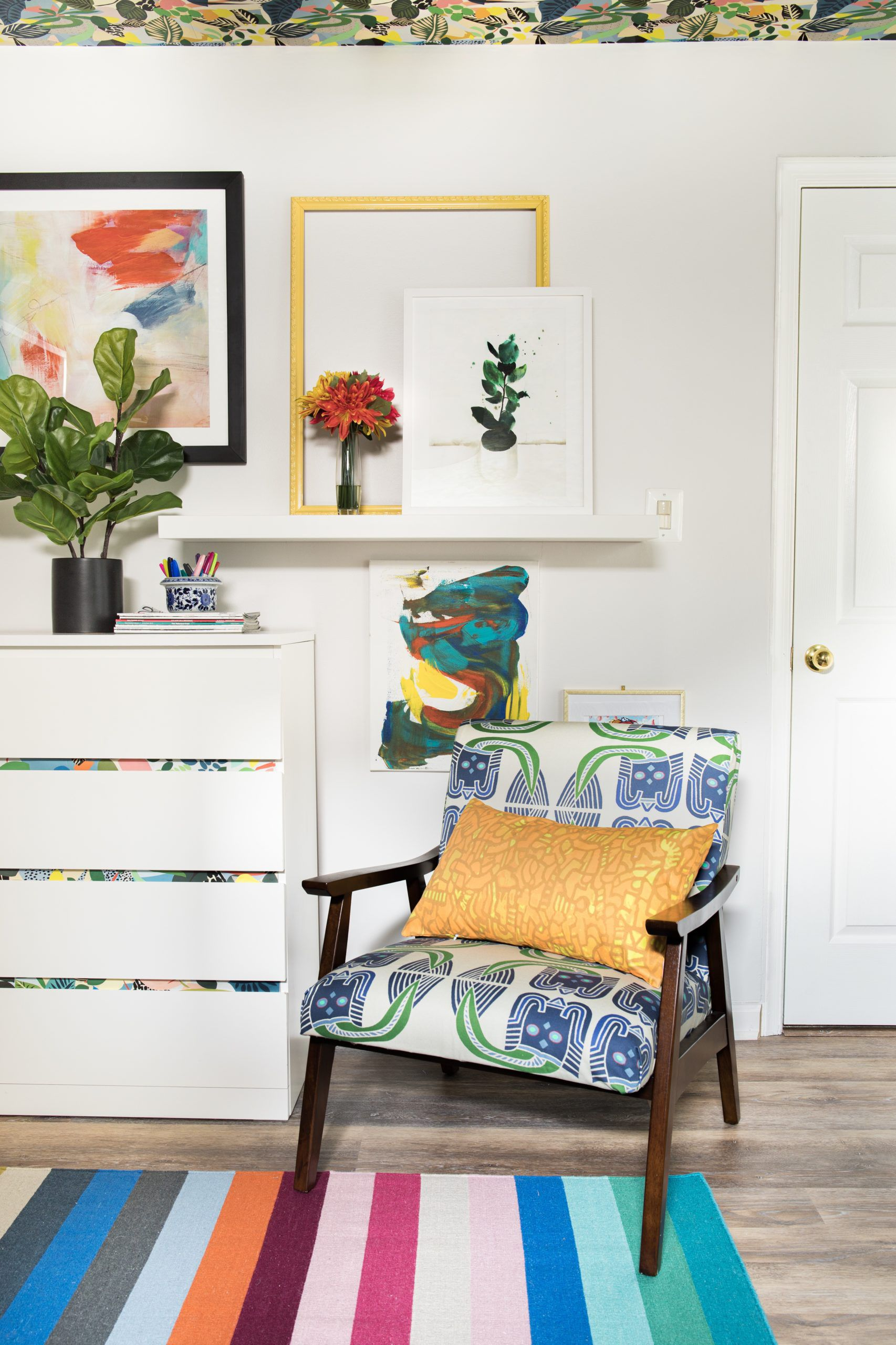 Stephanie Watkins Wallpaper On The Cabinet • Hockney Wallpaper by Kitty McCall • Colorful Wallpaper