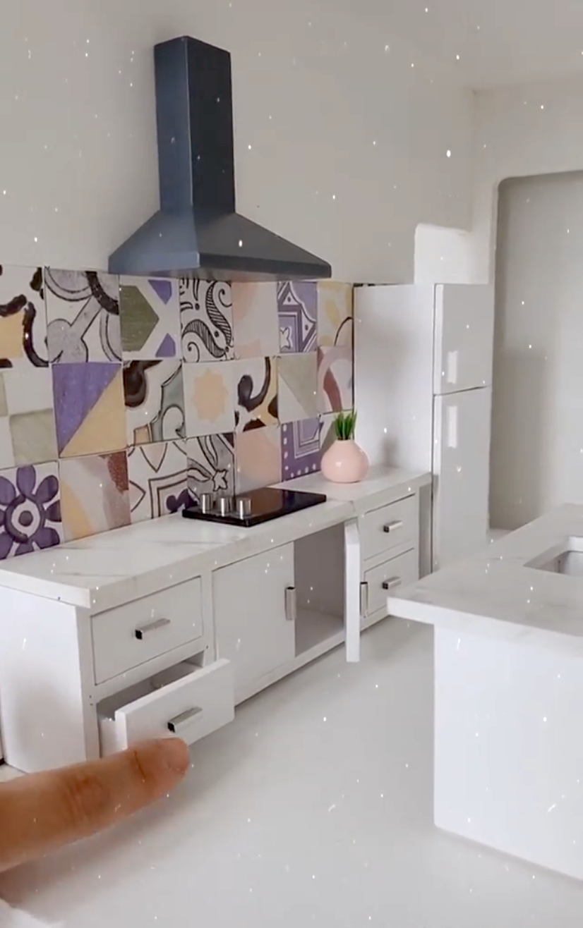 Wallpaper in a doll house by Brenda Stearns @she_plusfive • Federation Tiles Wallpaper