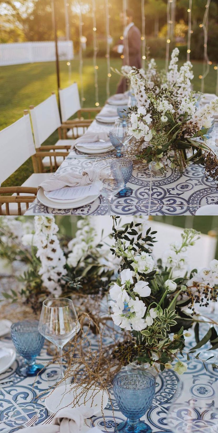 Perfect Party Co. Brisbane, Australia • Tablescape • Table Runner using Heritage Tiles Wallpaper by Milton & King for a wedding