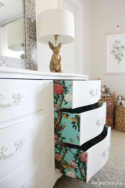 Wallpaper on Drawers using Garden Bloom Wallpaper by Milton & King