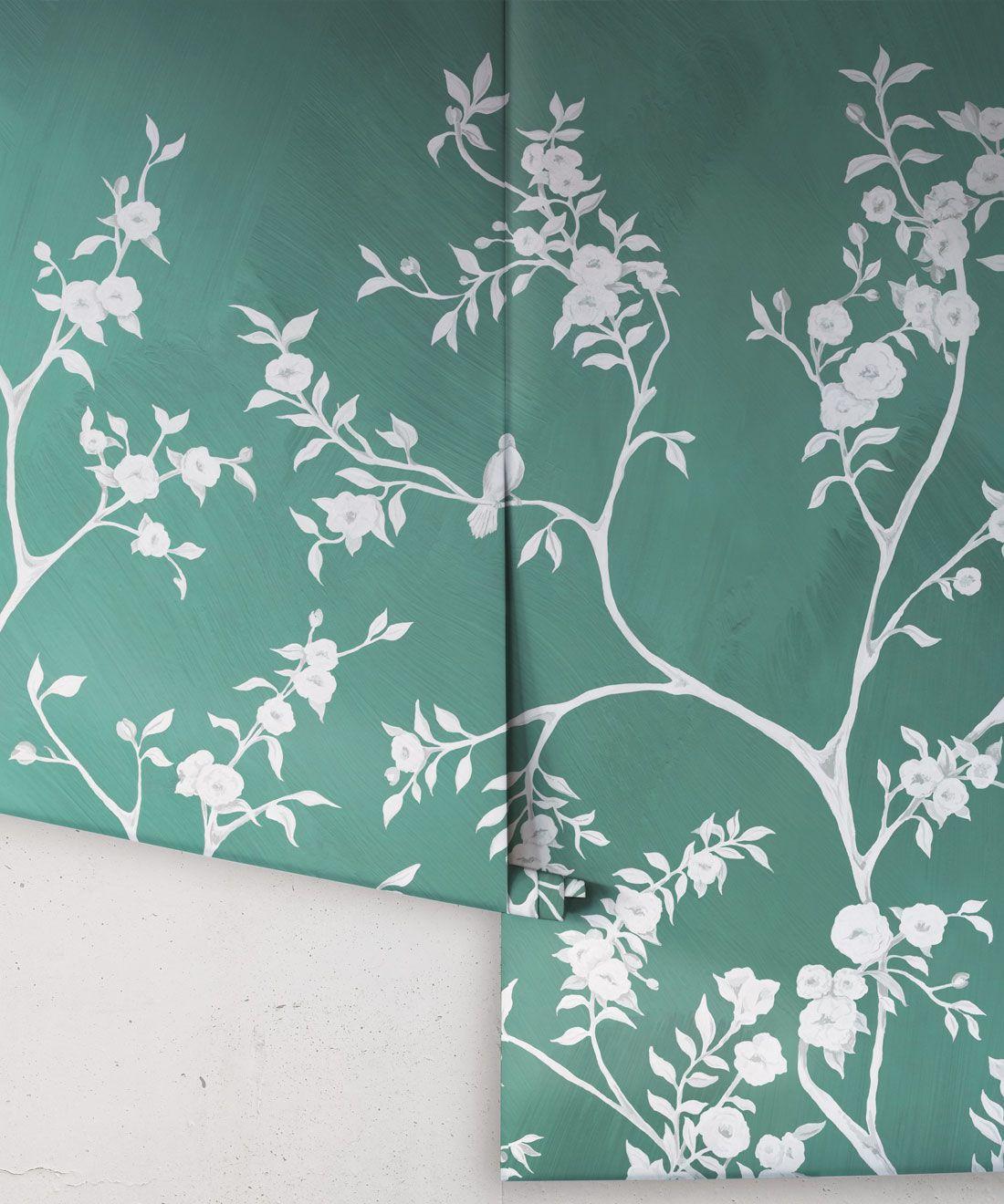 Blooming Joy • Chinoiserie Wallpaper by Danica Andler • Jade Rolls