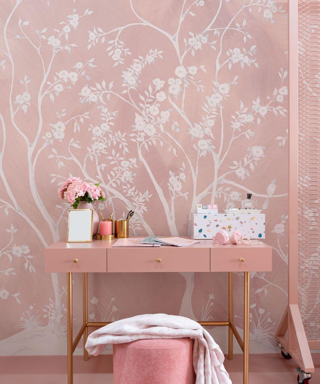 Blooming Joy • Chinoiserie Wallpaper by Danica Andler • Pink Blush Insitu