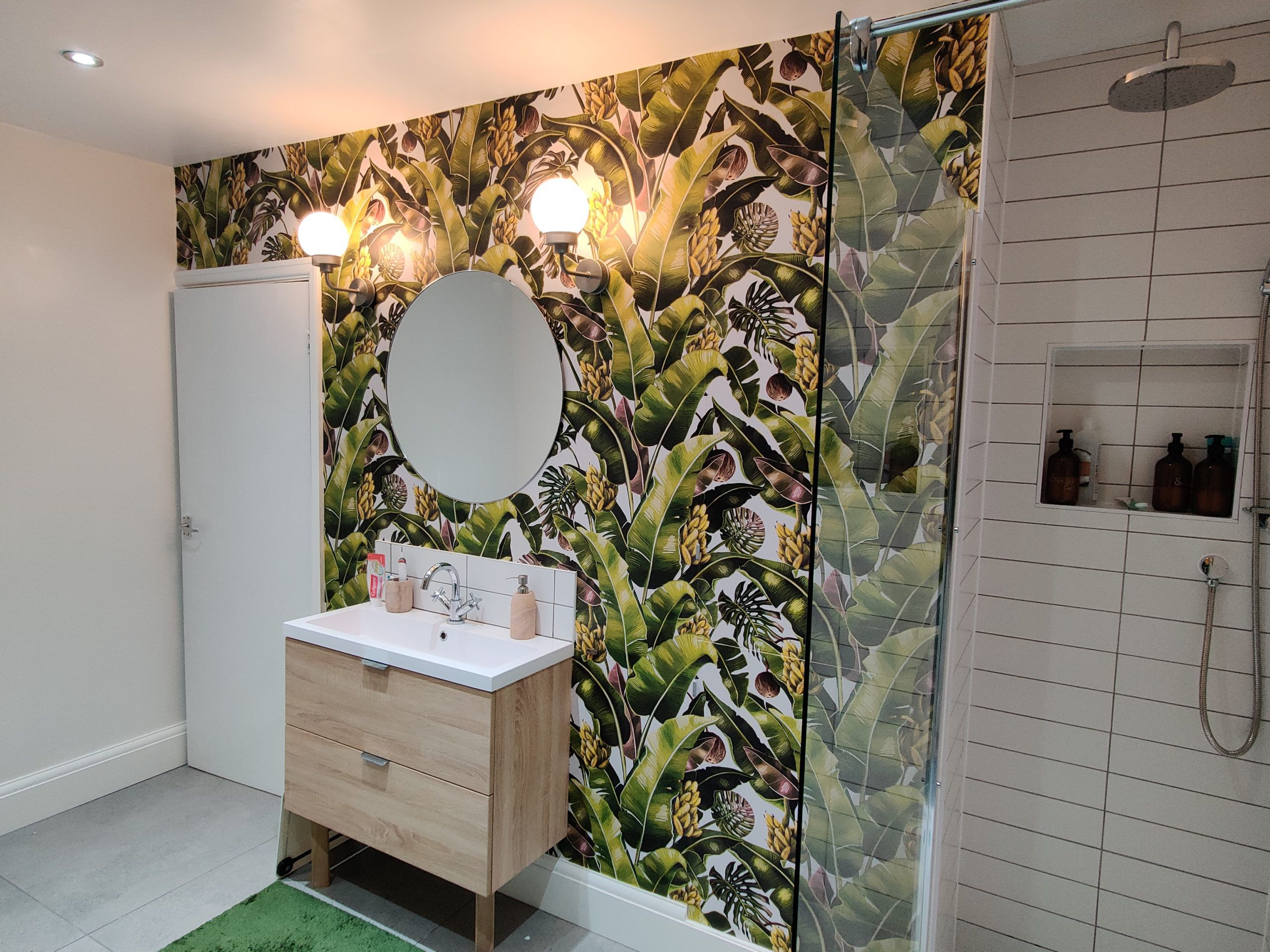 Kingdom Palm Wallpaper • Tropical Wallpaper •Wallpaper In the Bathroom • How To Waterproof Your Wallpaper • Michaela Livingstone-Banks • Andrew Dillon Decorating