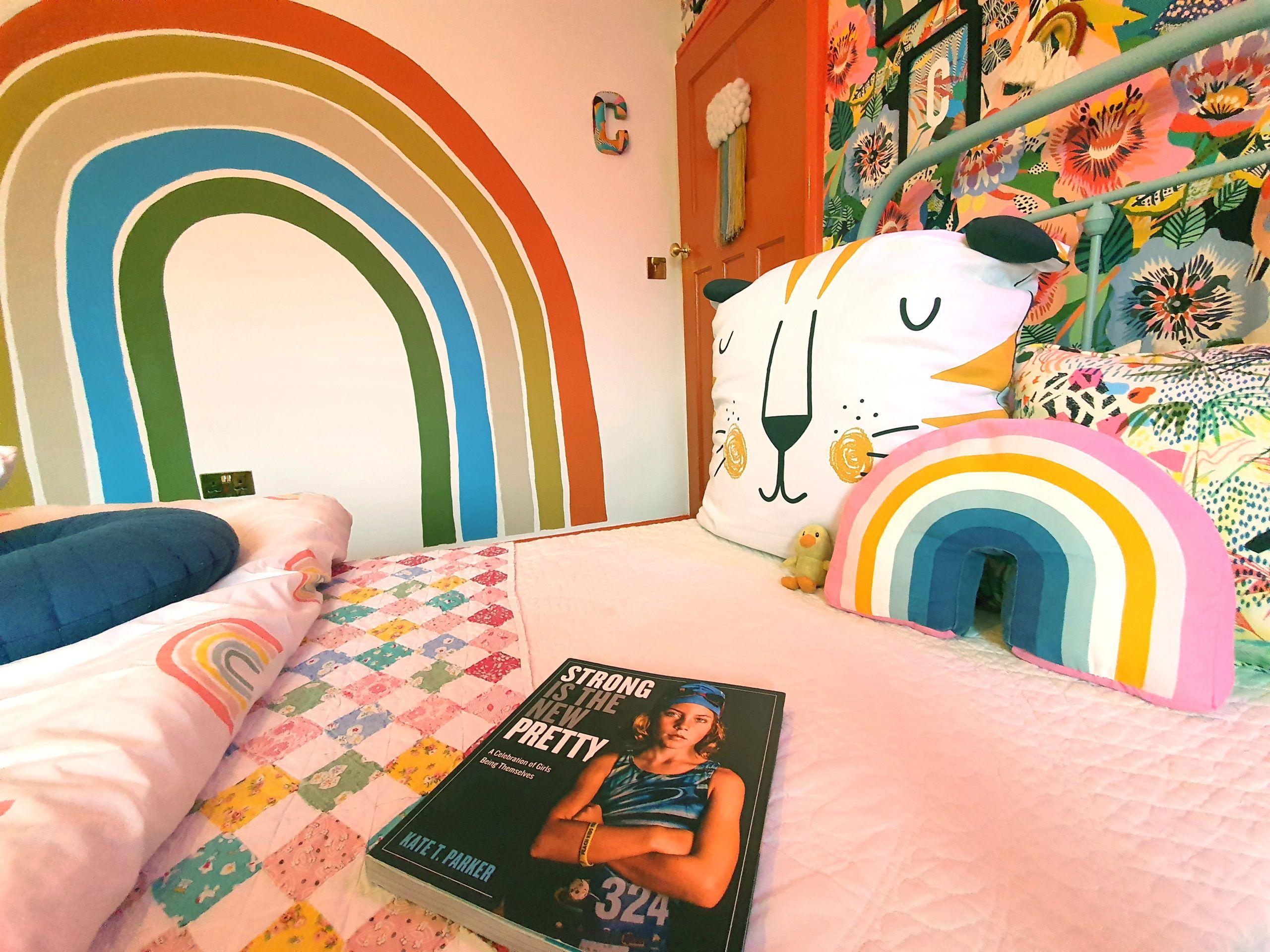 hand-painted rainbow on wall