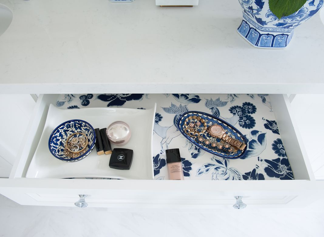 Nancy Marcus • Bathroom Reno • Three PM Wallpaper • Blue Farmhouse Wallpaper • Wallpaper With Roosters • Off The Wall uses for wallpaper • Drawer lining in a bathroom vanity