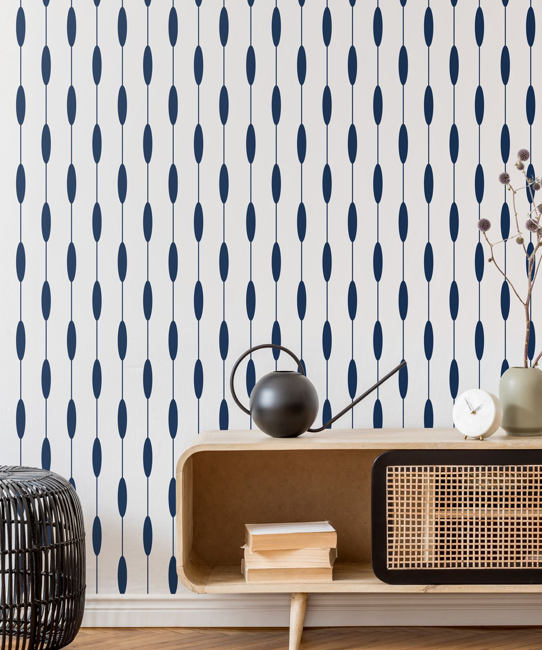 Bowline Wallpaper • Geometric Wallpaper • Striped Wallpaper • Navy Wallpaper •Insitu