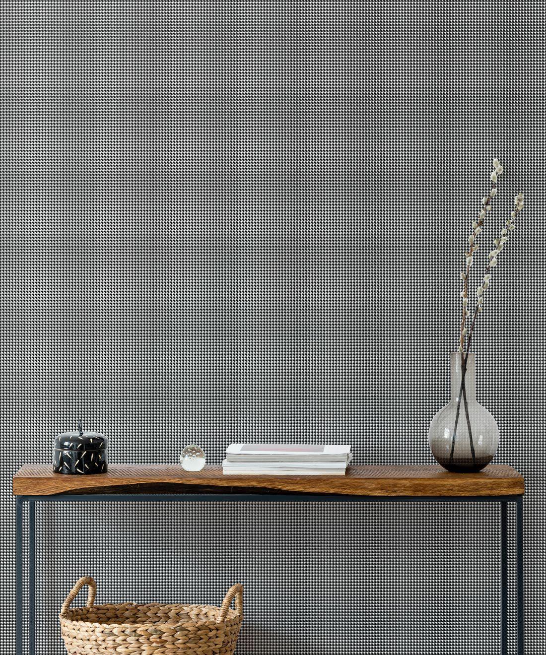 Houndstooth Wallpaper • Dogstooth Wallpaper • Black & White •Insitu