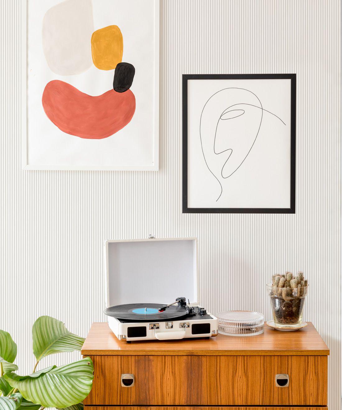 Ticking Stripe Wallpaper • Natural Wallpaper • Insitu