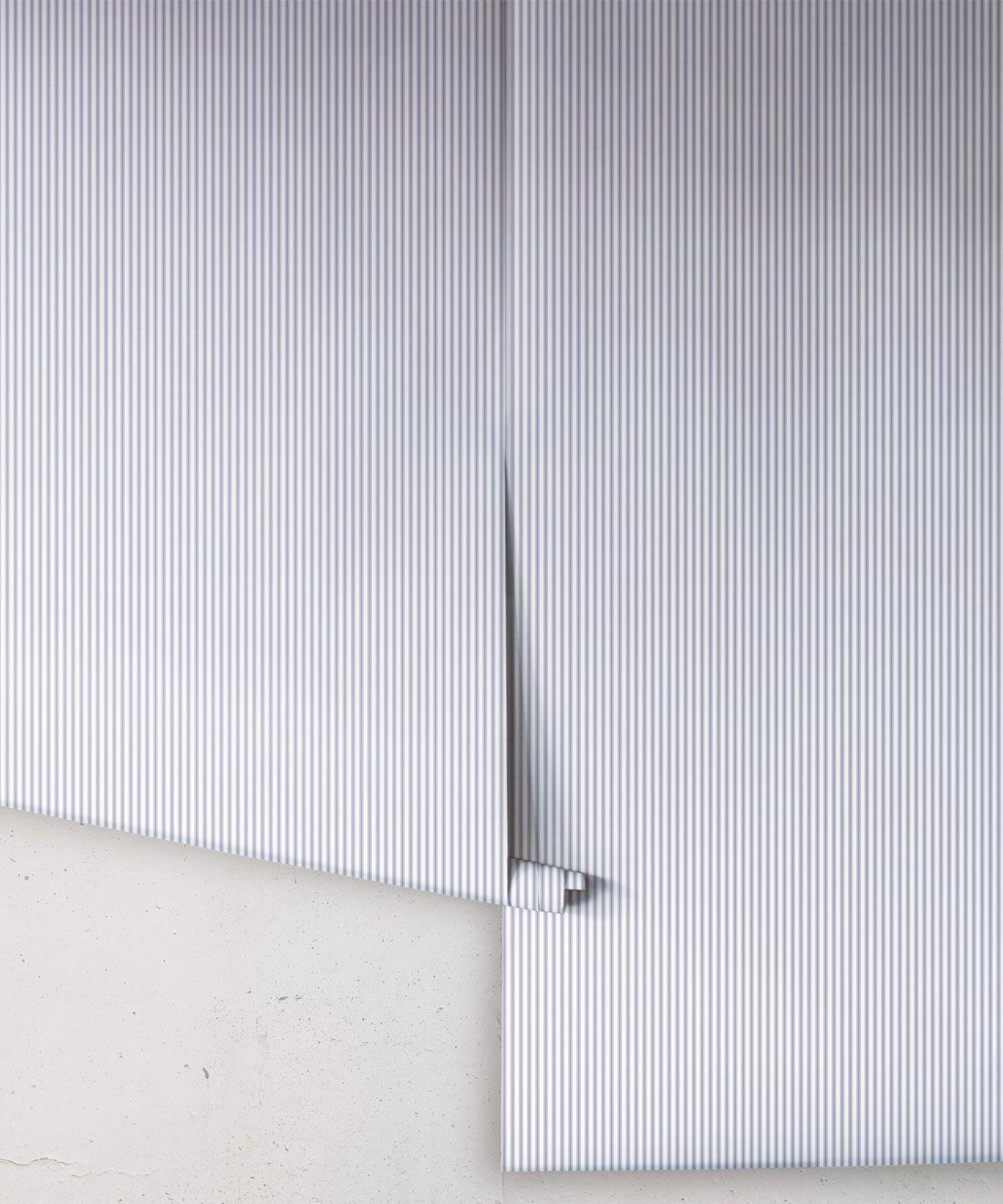 Ticking Stripe Wallpaper • Navy Wallpaper • Rolls
