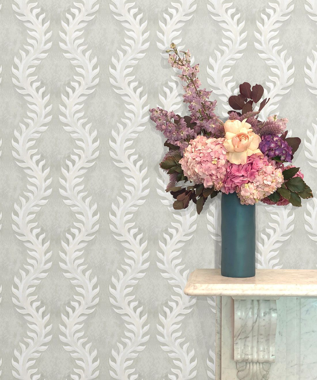 Fern Wallpaper • Beige •Insitu with Pink and purple flowers