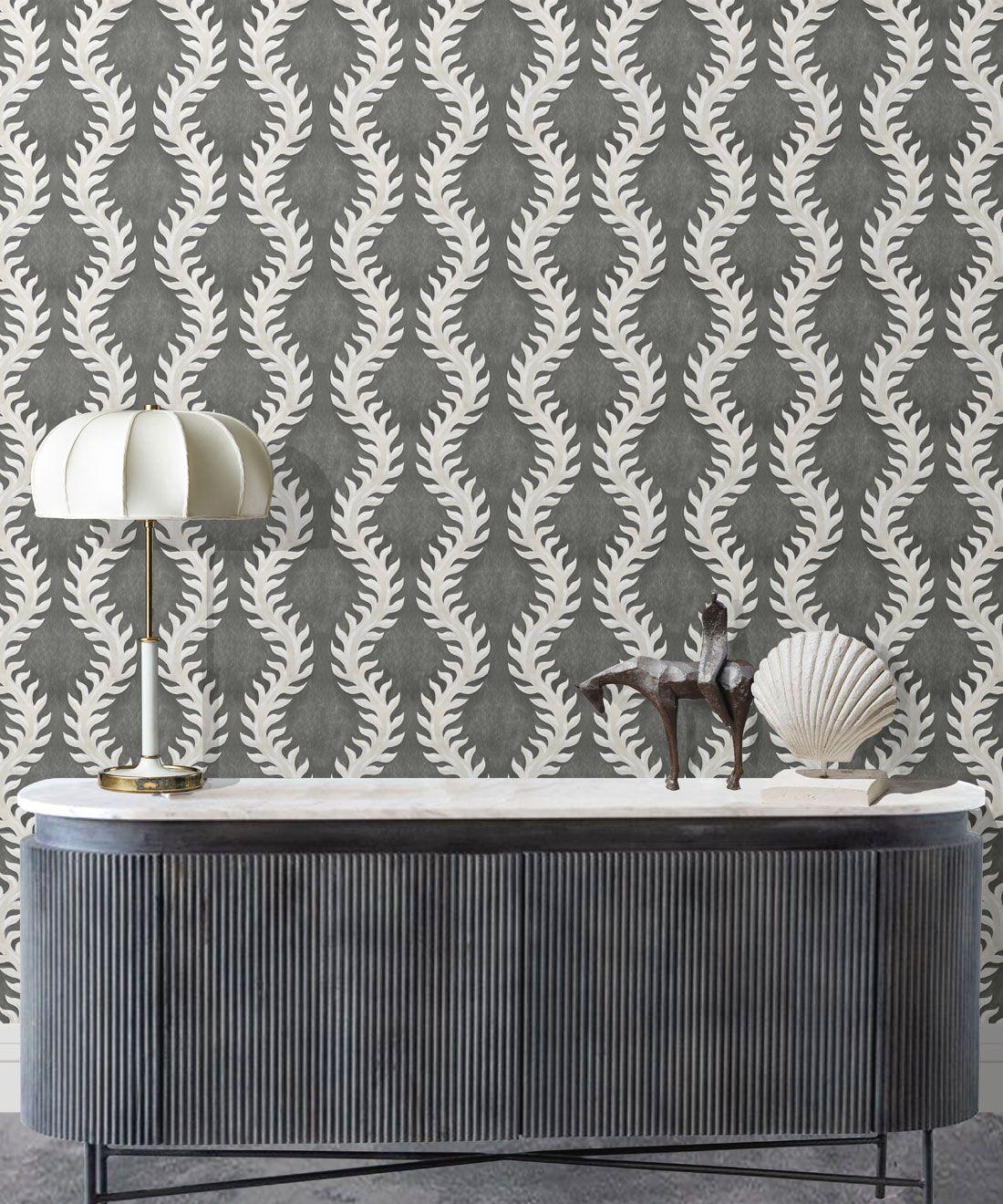 Fern Wallpaper • Gray Wallpaper •Insitu with desk