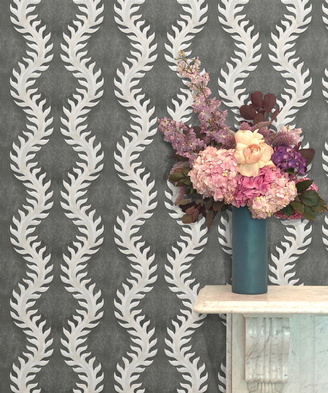 Fern Wallpaper • Gray Wallpaper •Insitu with pink flowers