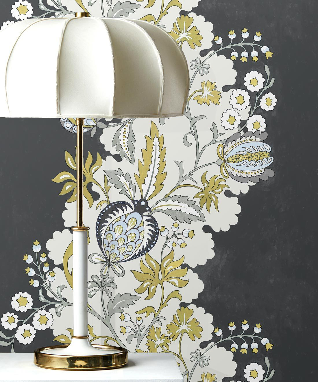 Pomegranate Wallpaper • Charcoal • with Lamp