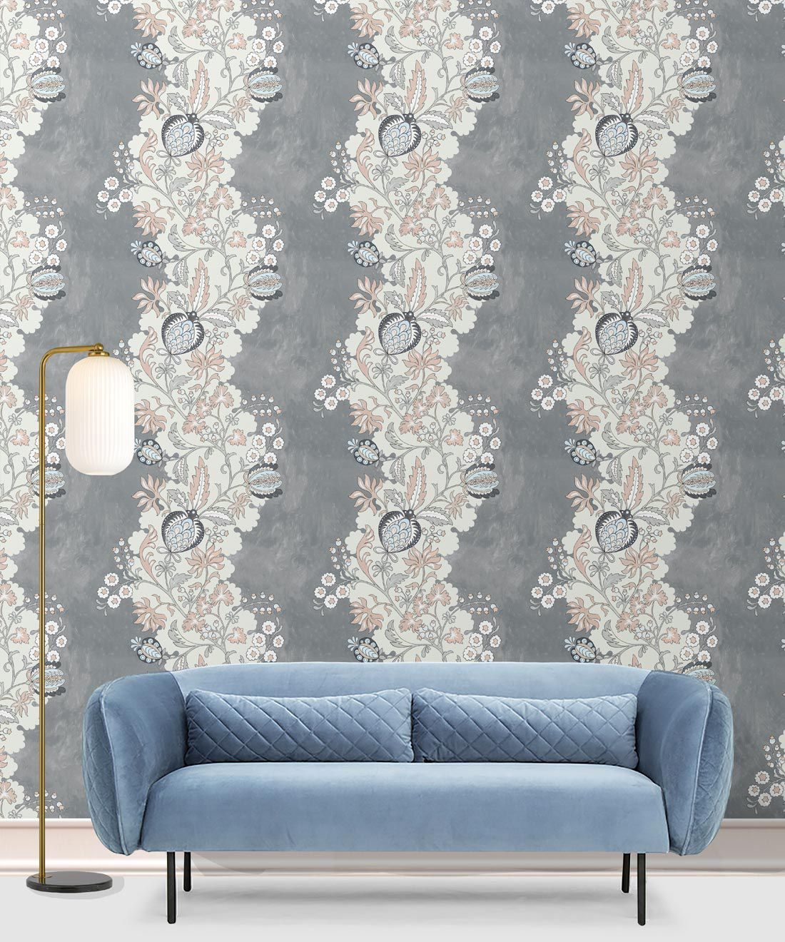 Pomegranate Wallpaper • Dusty Pink • Insitu with Blue Sofa