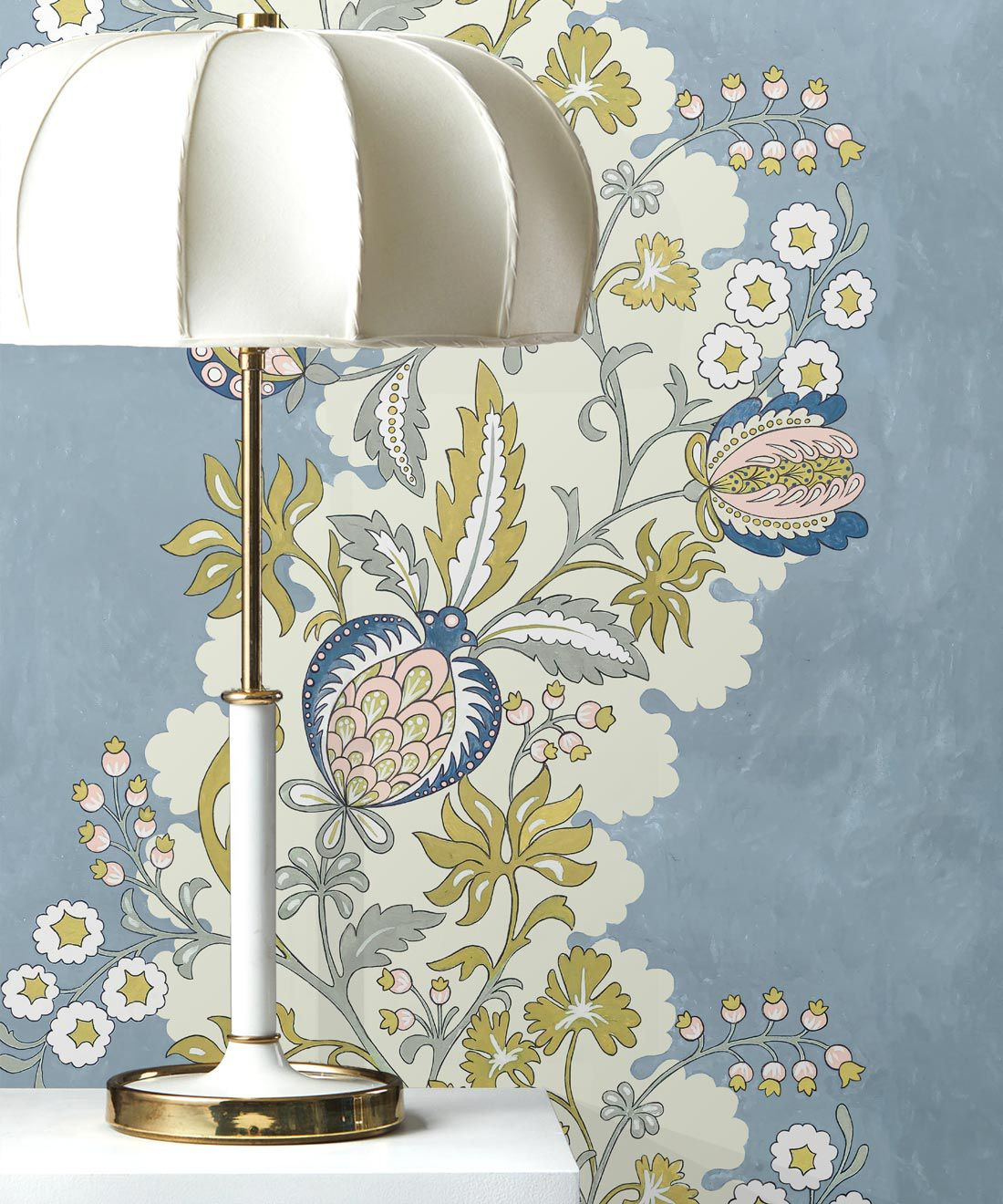 Pomegranate Wallpaper • French Blue • insitu with lamp
