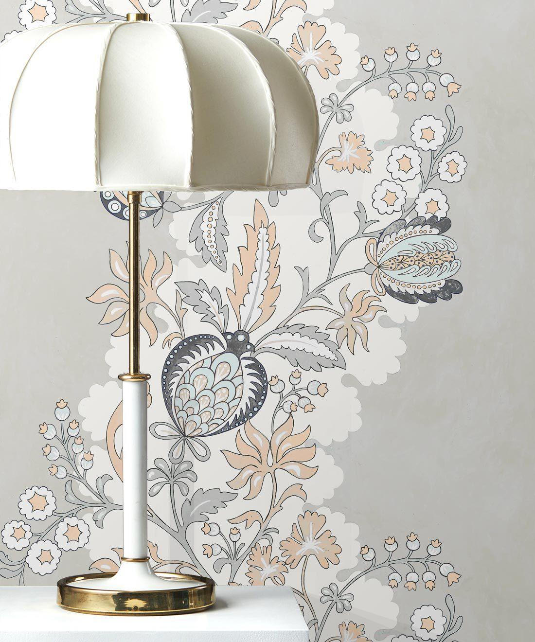 Pomegranate Wallpaper • salmon • insitu with lamp