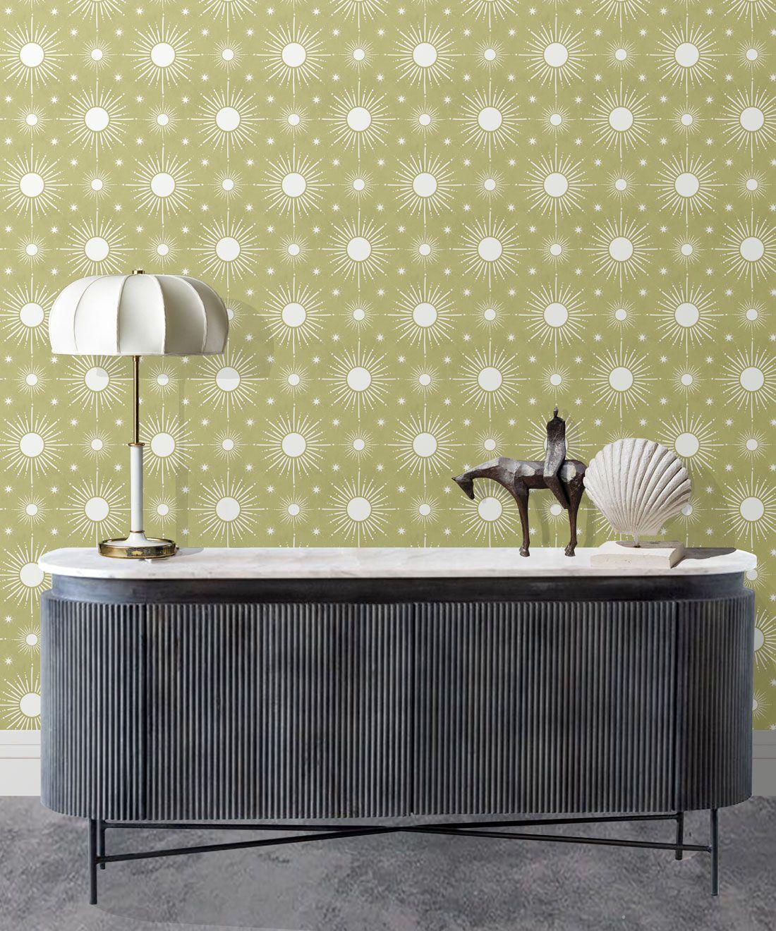 Sun Light Star Bright Wallpaper • Chartreuse • Insitu
