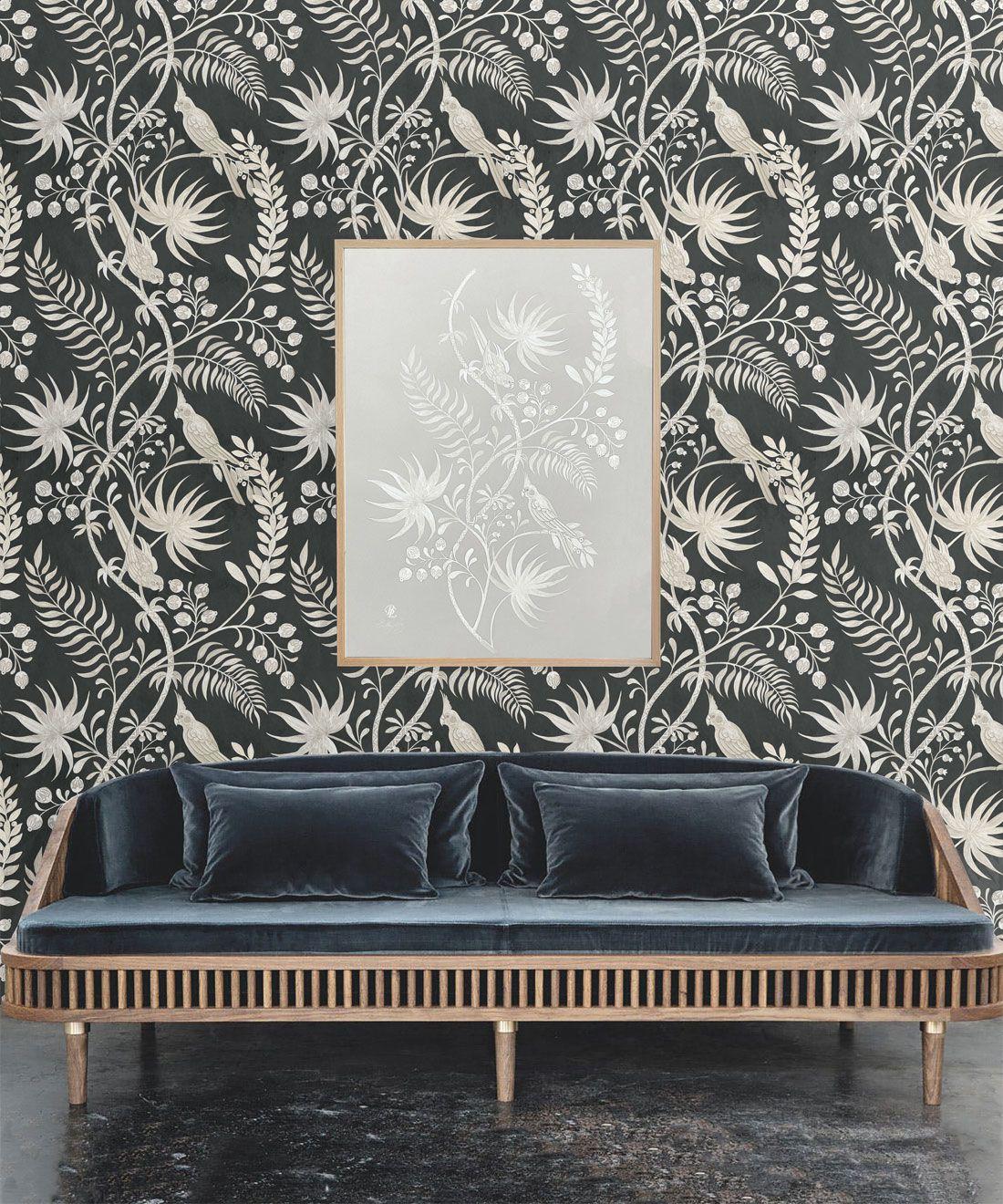 Tropicana Wallpaper • Charcoal • Insitu