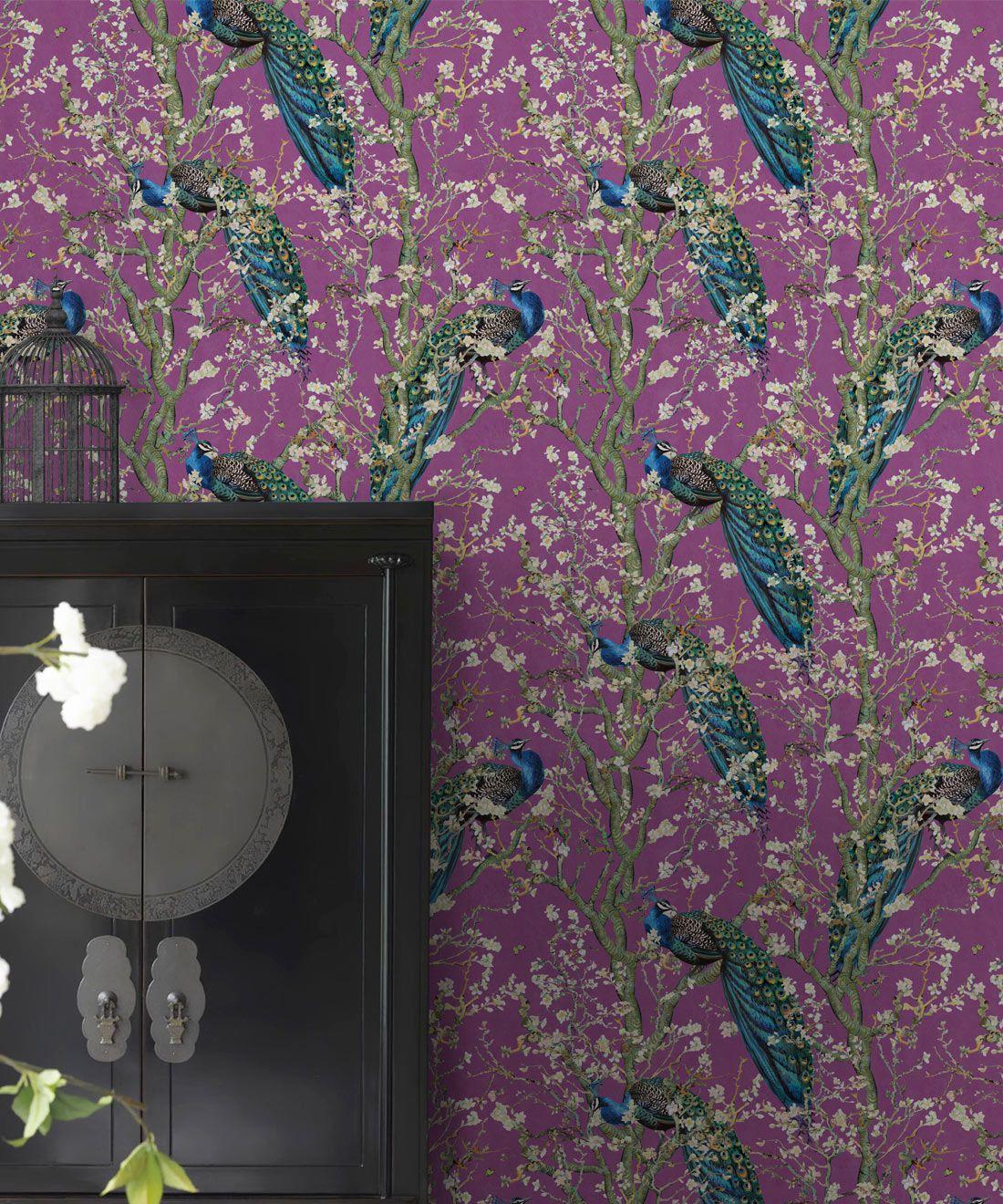 Almond Blossom Wallpaper • Chinoiserie Wallpaper • Wallpaper with Peacocks • Purple Eggplant Wallpaper •Insitu