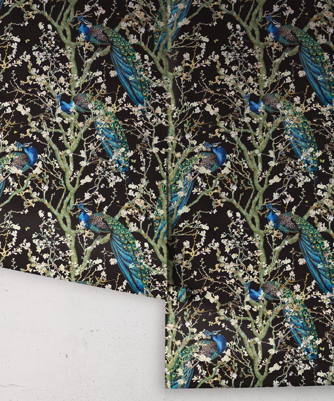 Almond Blossom Wallpaper • Chinoiserie Wallpaper • Wallpaper with Peacocks • Black Night Wallpaper •Rolls