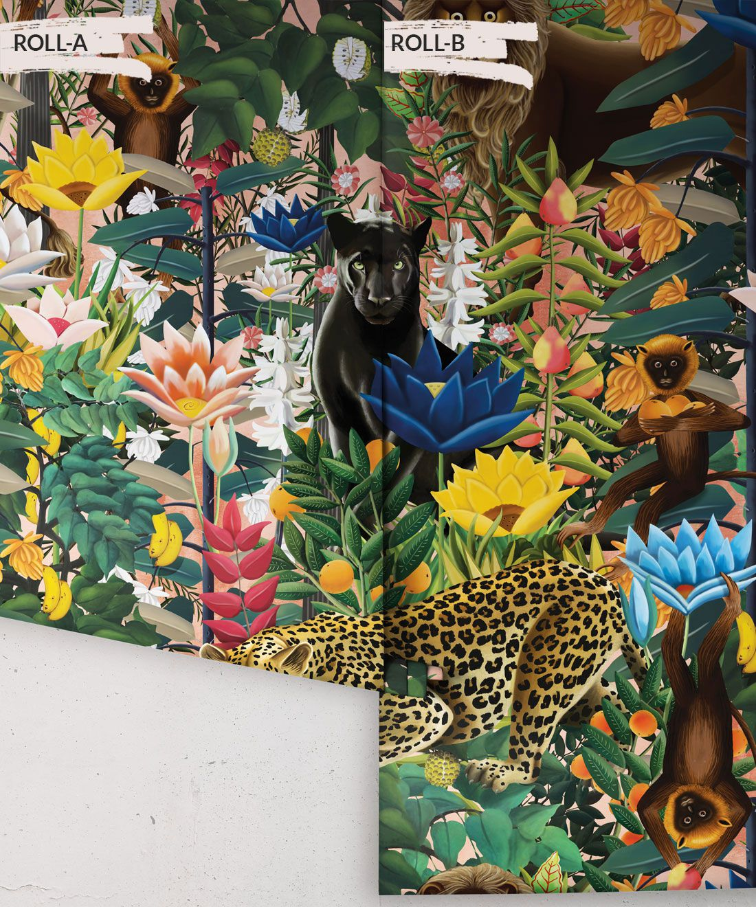 The Jungle Wallpaper • Animal Wallpaper • Botanical Wallpaper • Coral Wallpaper • Rolls