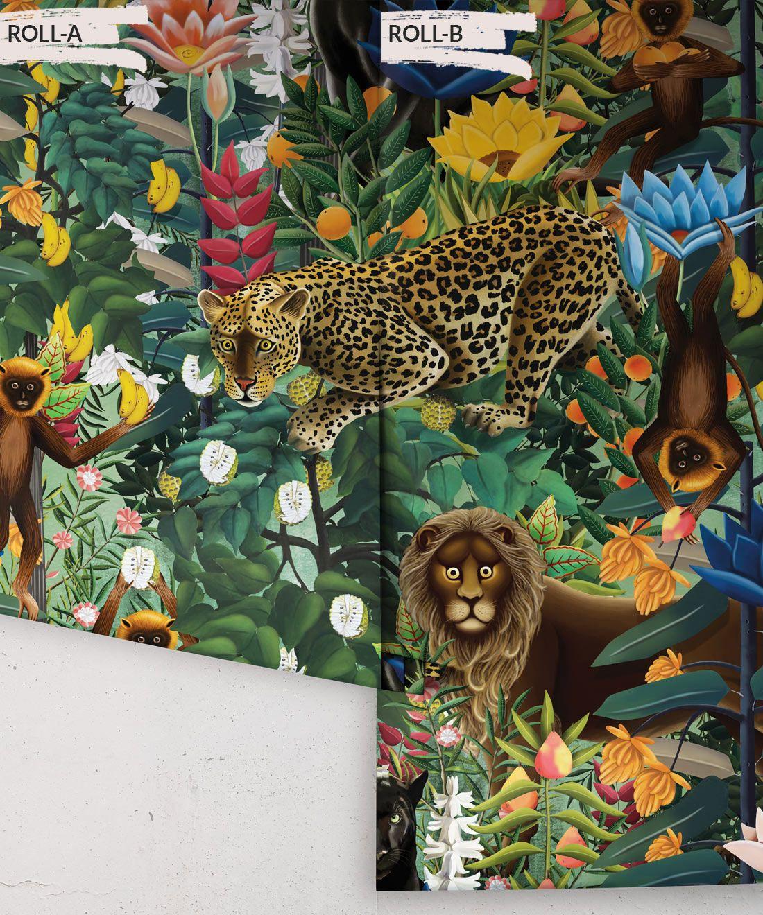 The Jungle Wallpaper • Animal Wallpaper • Botanical Wallpaper • Greenery Wallpaper • Rolls