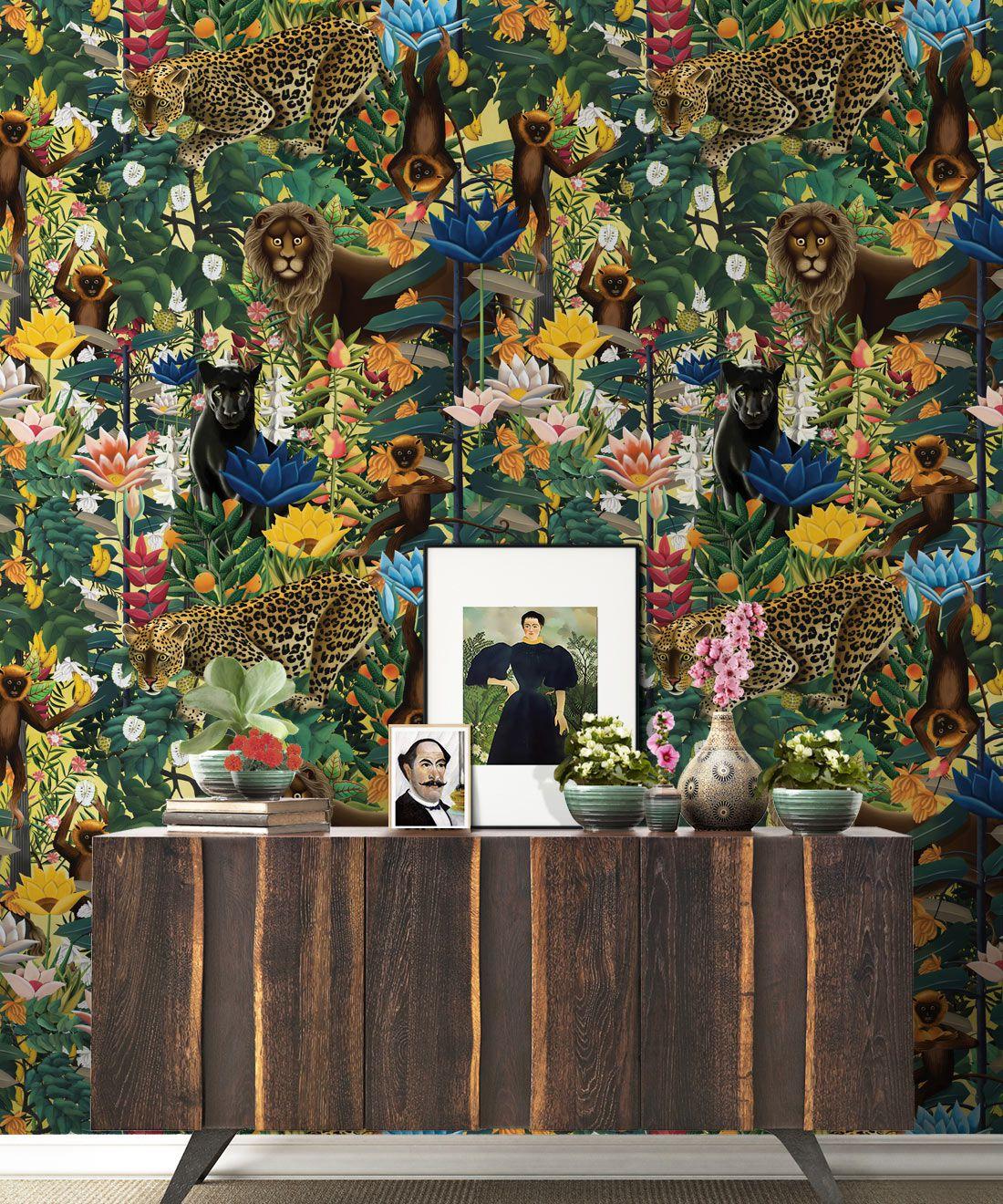 The Jungle Wallpaper • Animal Wallpaper • Botanical Wallpaper • Hazelwood Wallpaper • Insitu