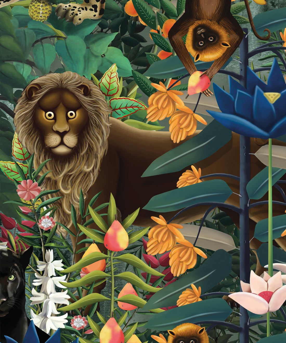 The Jungle Wallpaper • Animal Wallpaper • Botanical Wallpaper • Night Wallpaper • Swatch