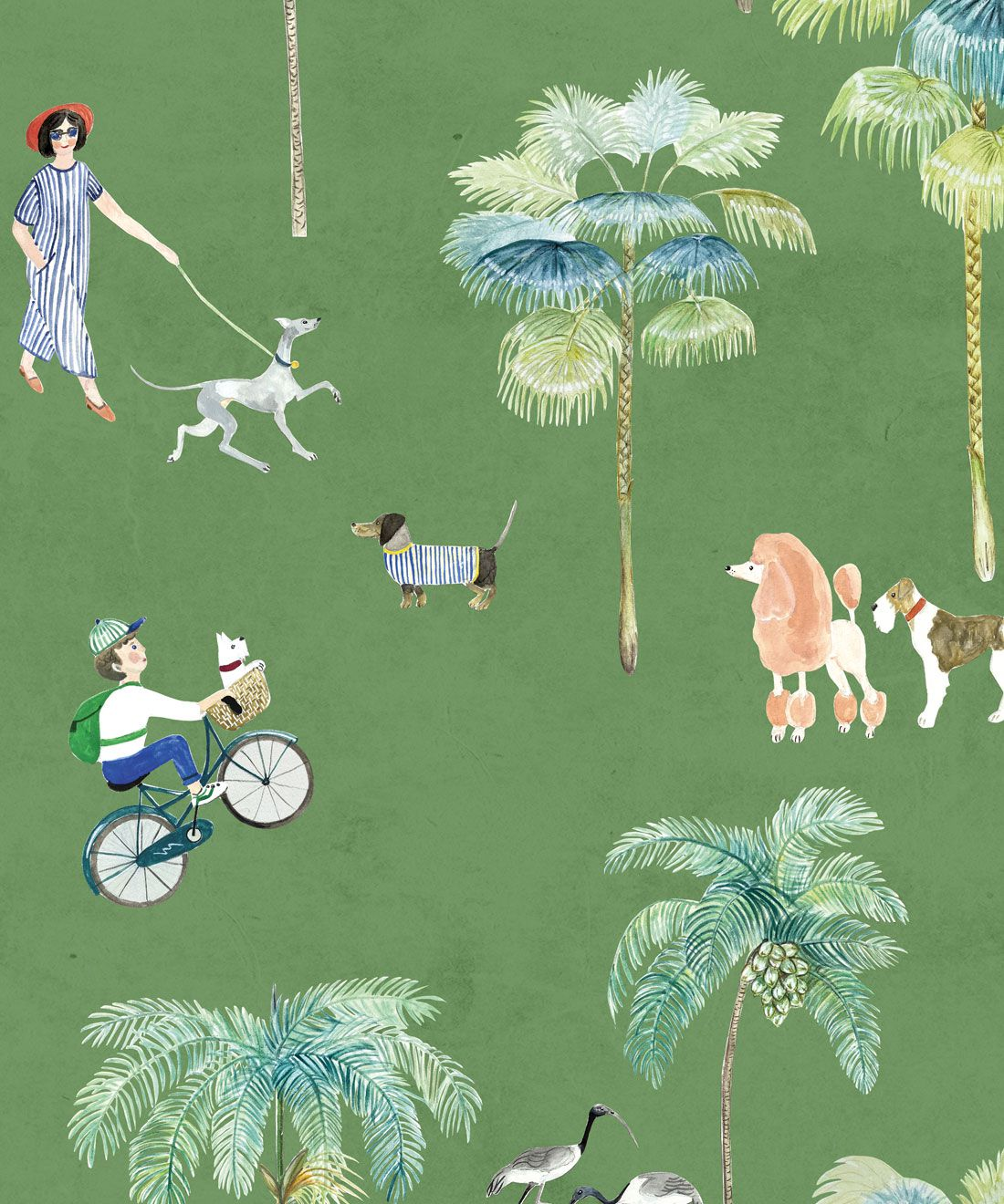 At The Dog Park Wallpaper • Kids Wallpaper • Green • Swatch
