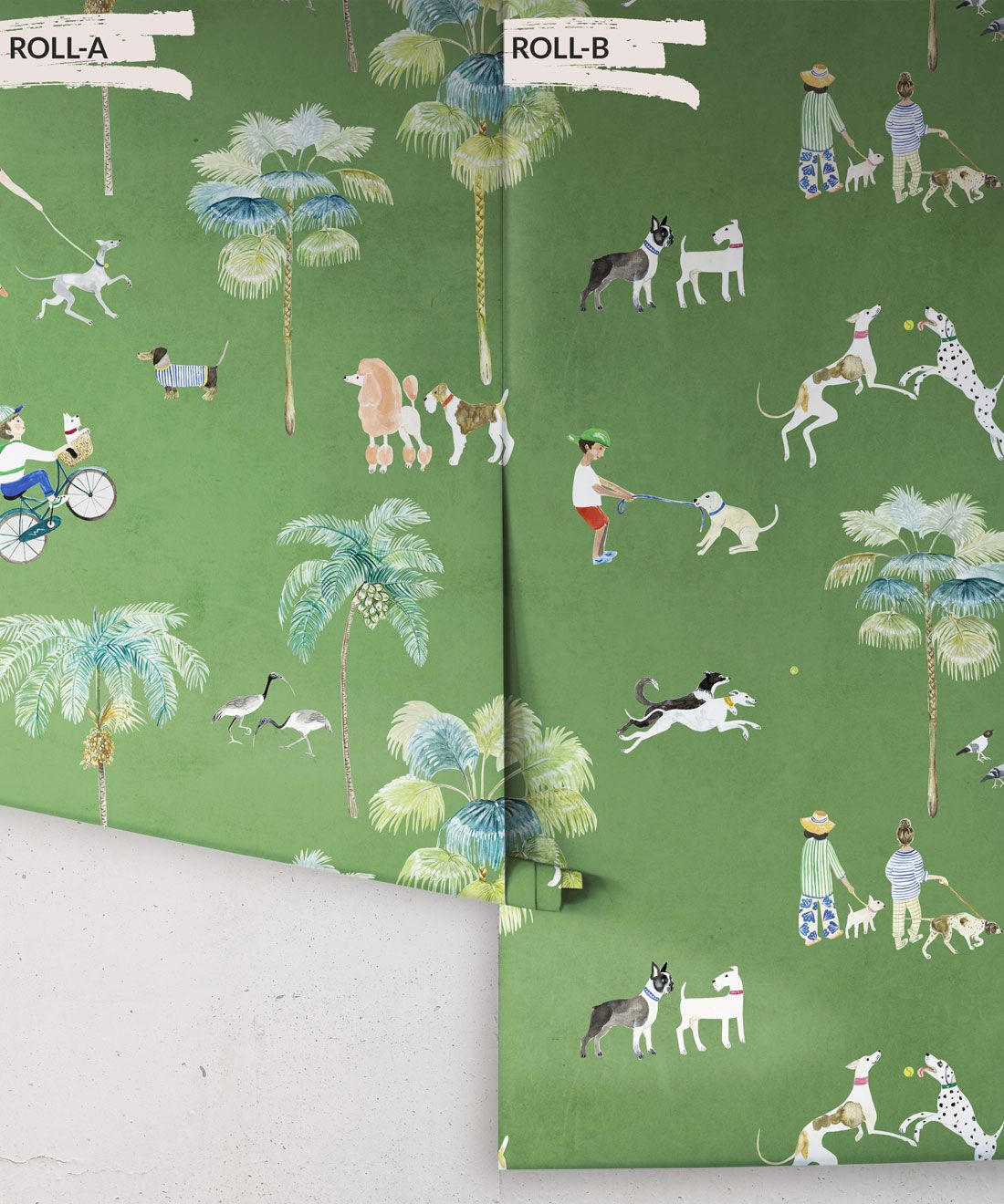 At The Dog Park Wallpaper • Kids Wallpaper • Green • Rolls