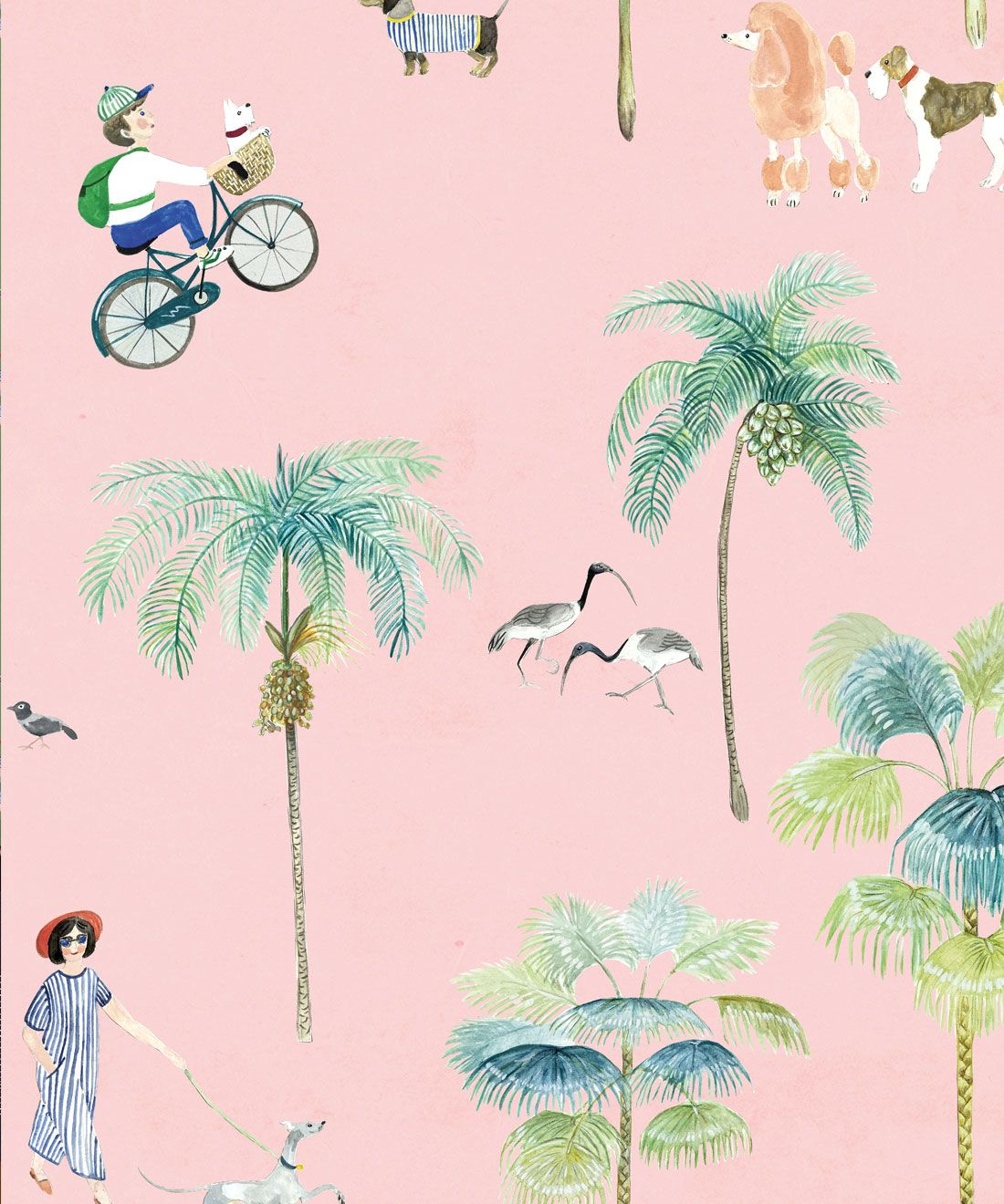 At The Dog Park Wallpaper • Kids Wallpaper • Pink • Swatch